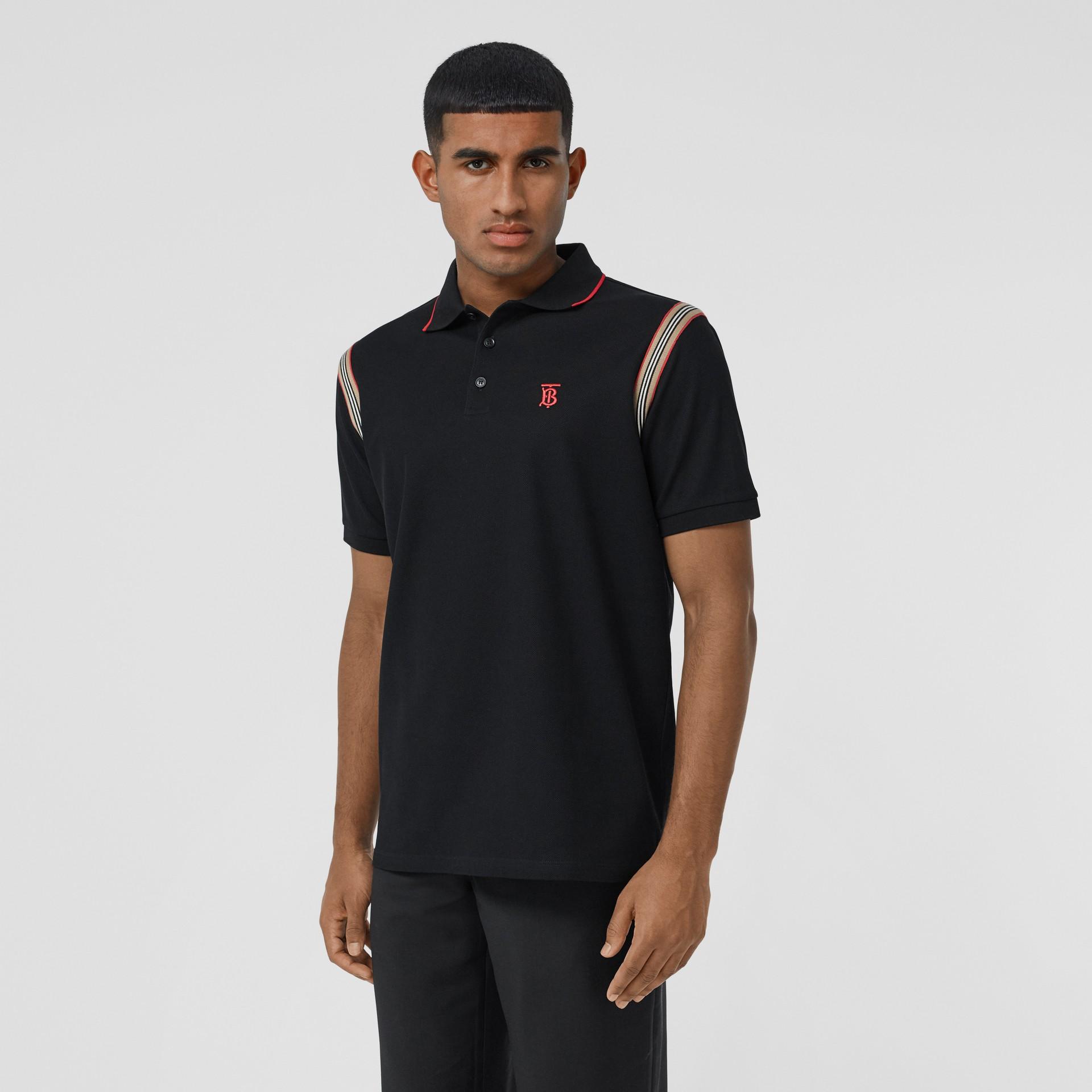 Icon Stripe Trim Monogram Motif Cotton Polo Shirt in Black - Men | Burberry - gallery image 0