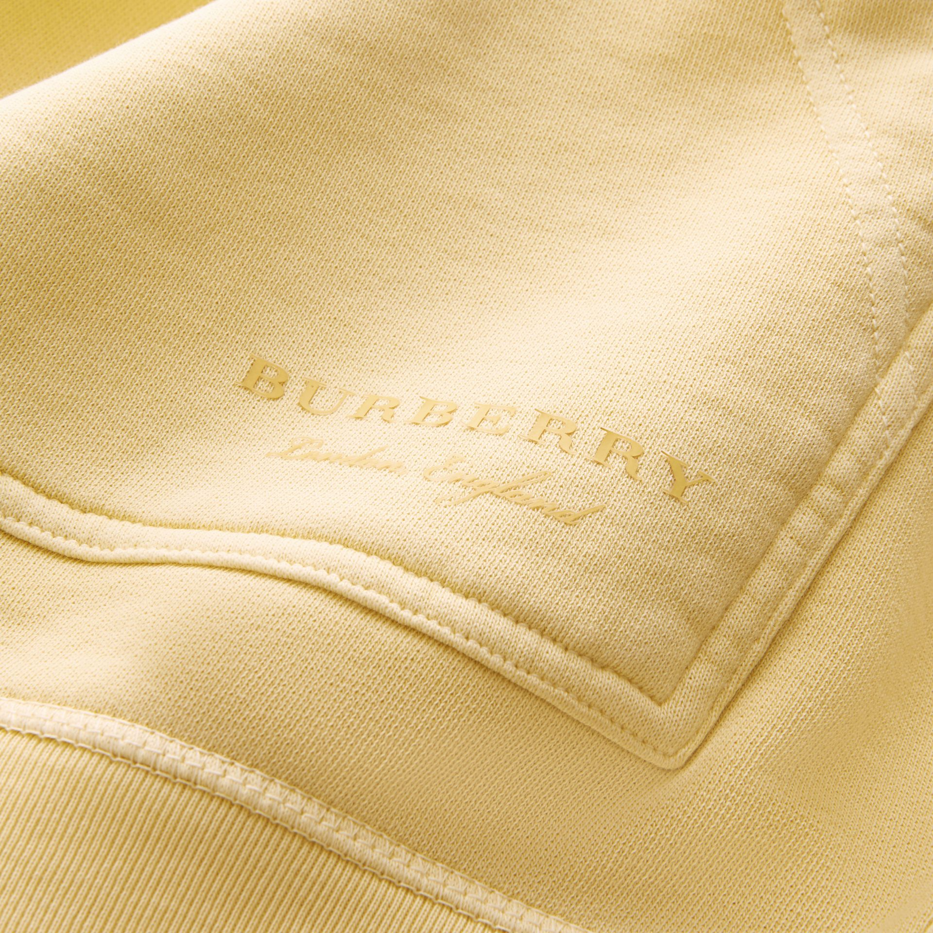 Unisex Pigment-dyed Cotton Oversize Sweatshirt in Pale Yellow - Men | Burberry Hong Kong - gallery image 2