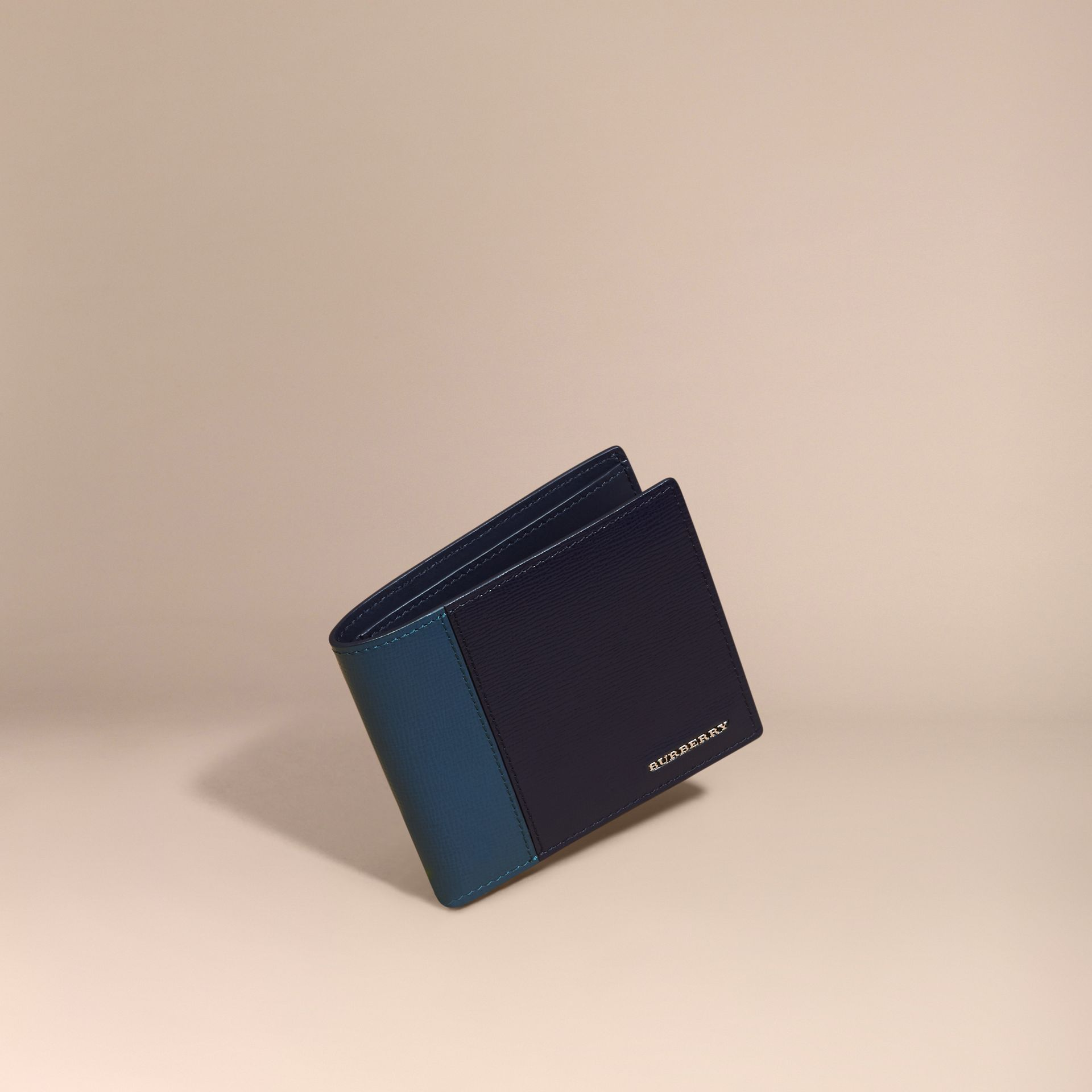 Dark navy/mineral blue Panelled London Leather Folding Wallet Dark Navy/mineral Blue - gallery image 1