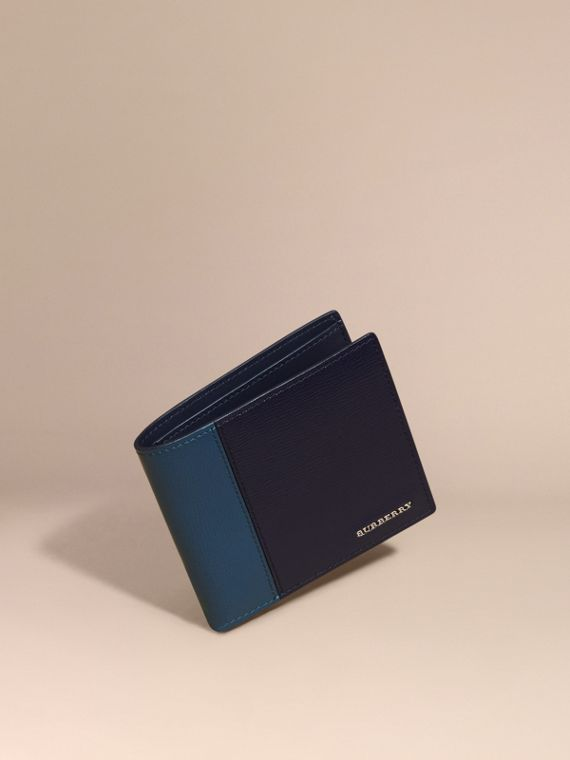 Panelled London Leather Folding Wallet Dark Navy/mineral Blue