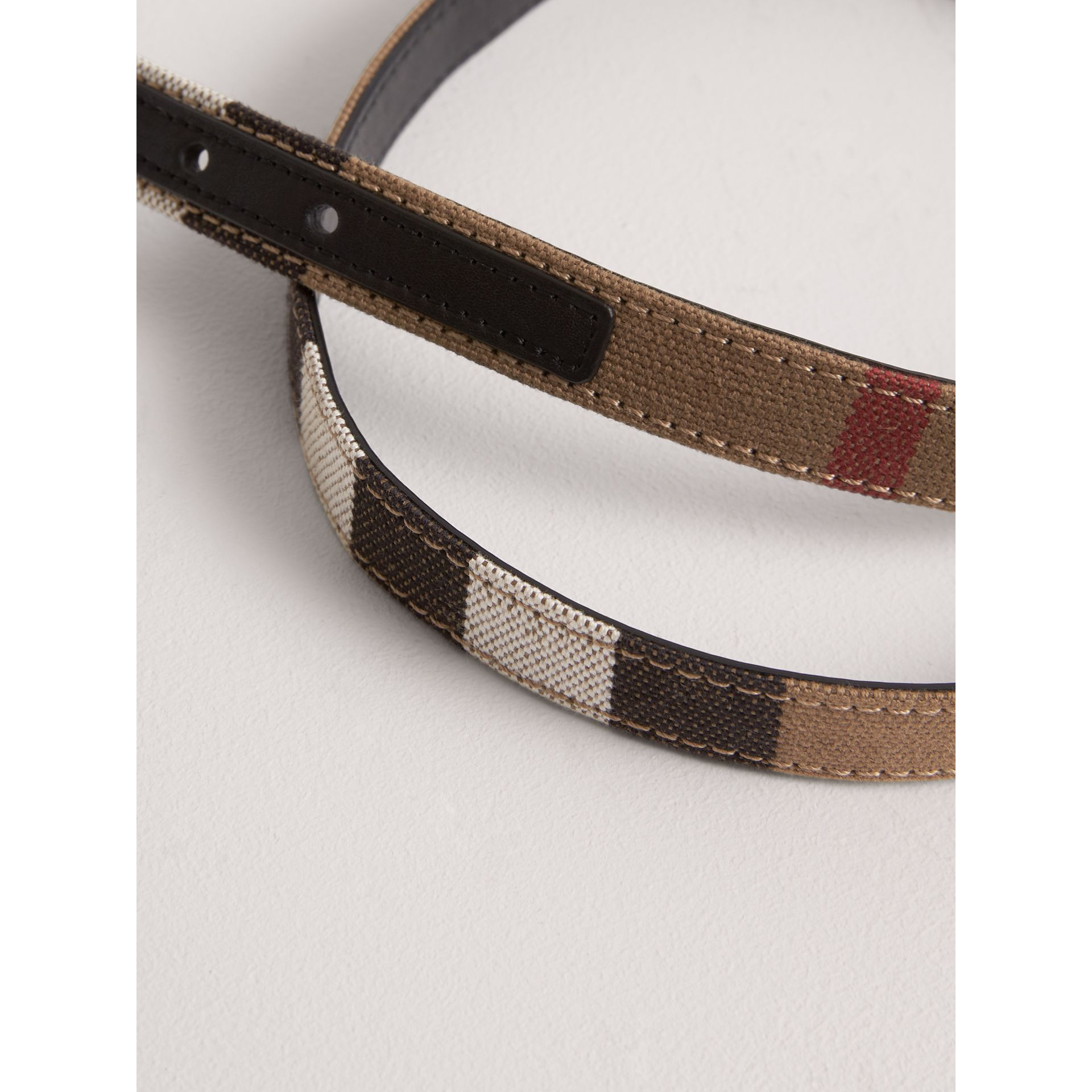 Canvas Check and Leather Belt in Black | Burberry - gallery image 2
