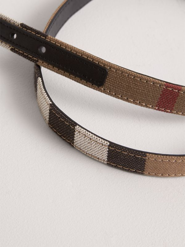Canvas Check and Leather Belt in Black | Burberry - cell image 2