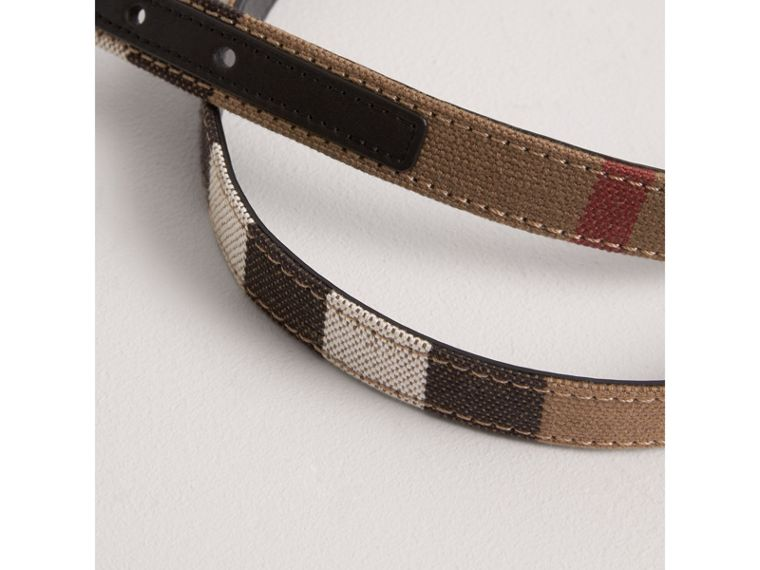 Canvas Check and Leather Belt in Black | Burberry Australia - cell image 2