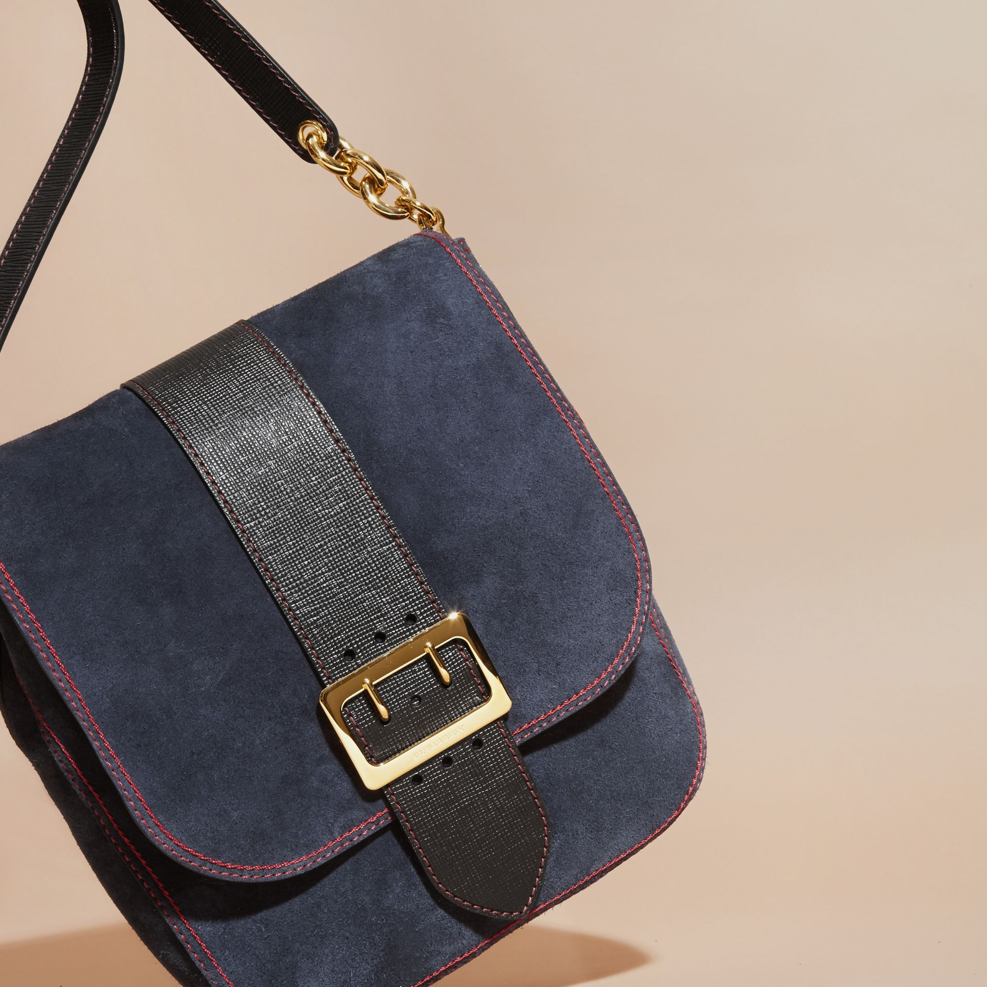 Navy The Buckle Satchel in Suede with Topstitching Navy - gallery image 6
