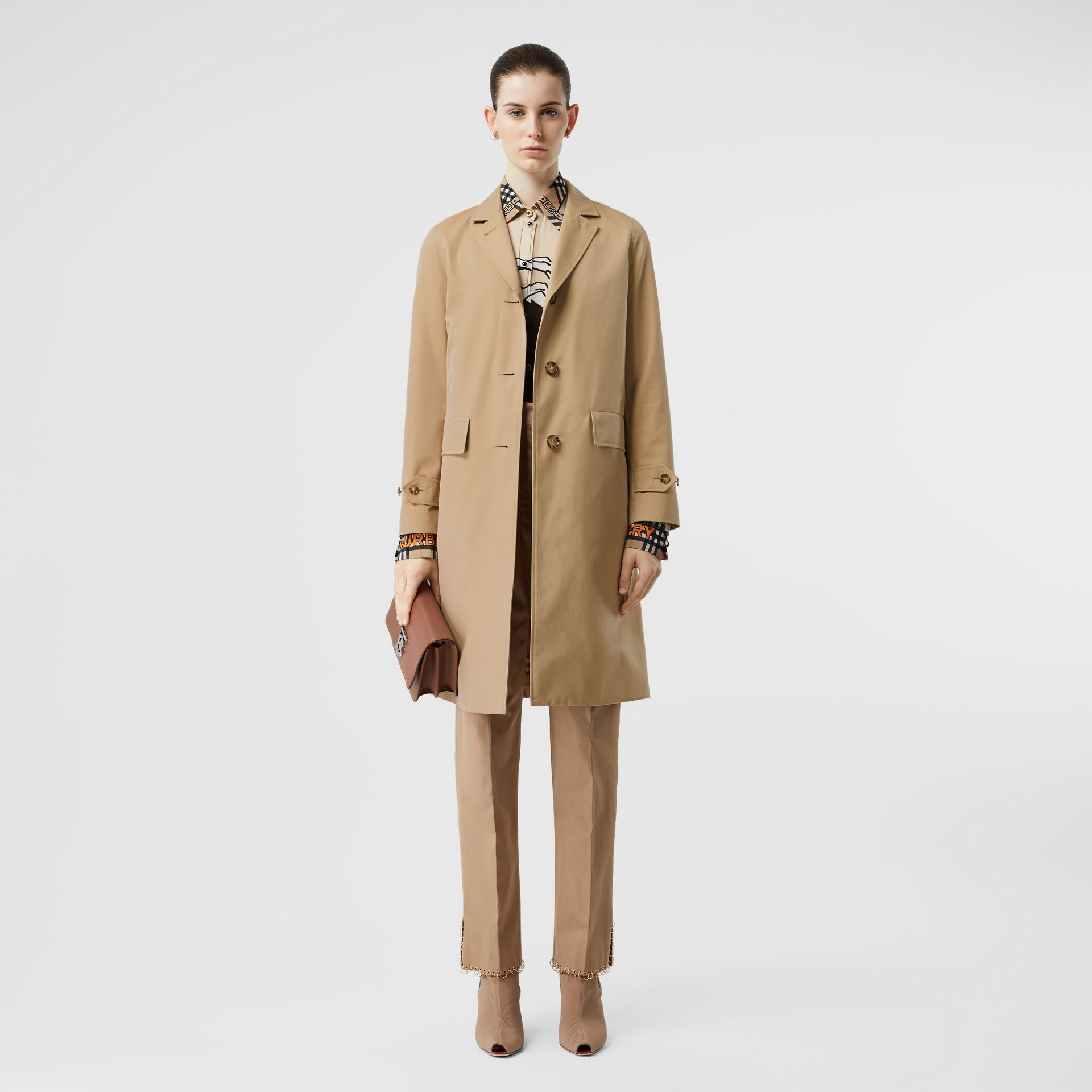Cotton Gabardine Lab Coat in Honey - Women | Burberry - gallery image 0