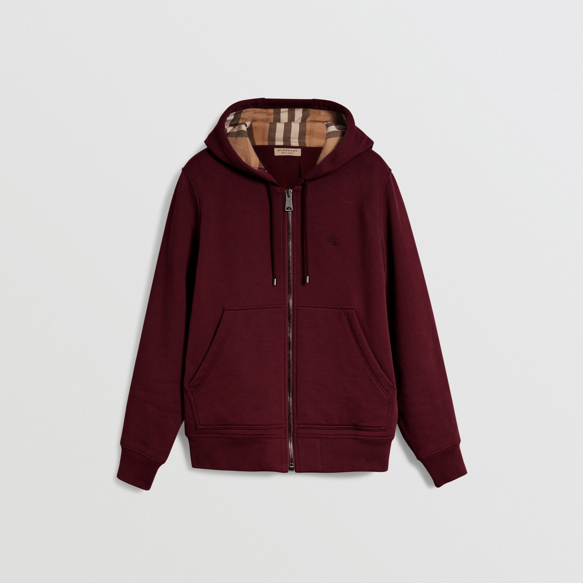 Check Detail Jersey Hooded Top in Dark Crimson - Men | Burberry - gallery image 3