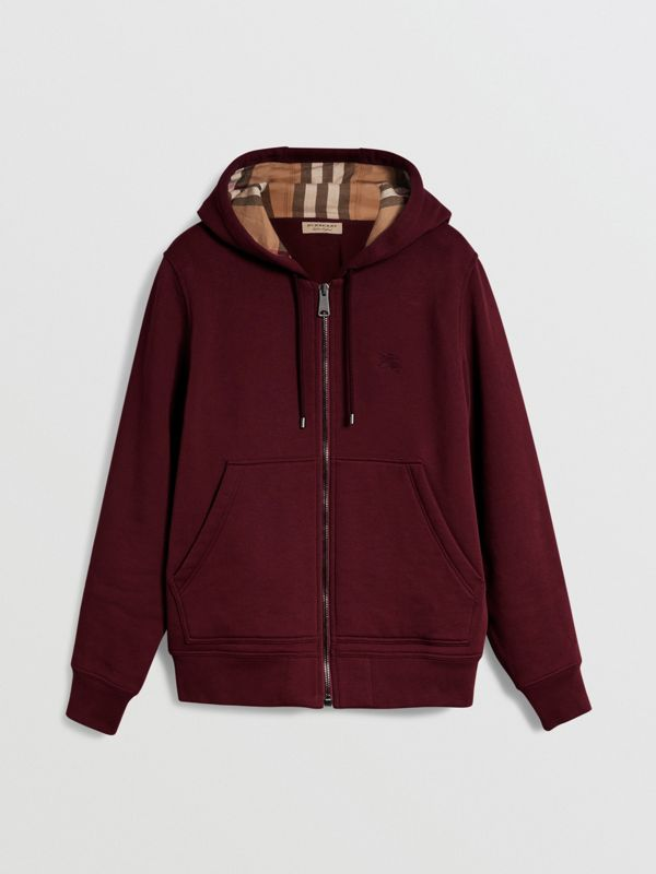 Check Detail Jersey Hooded Top in Dark Crimson - Men | Burberry Canada - cell image 3