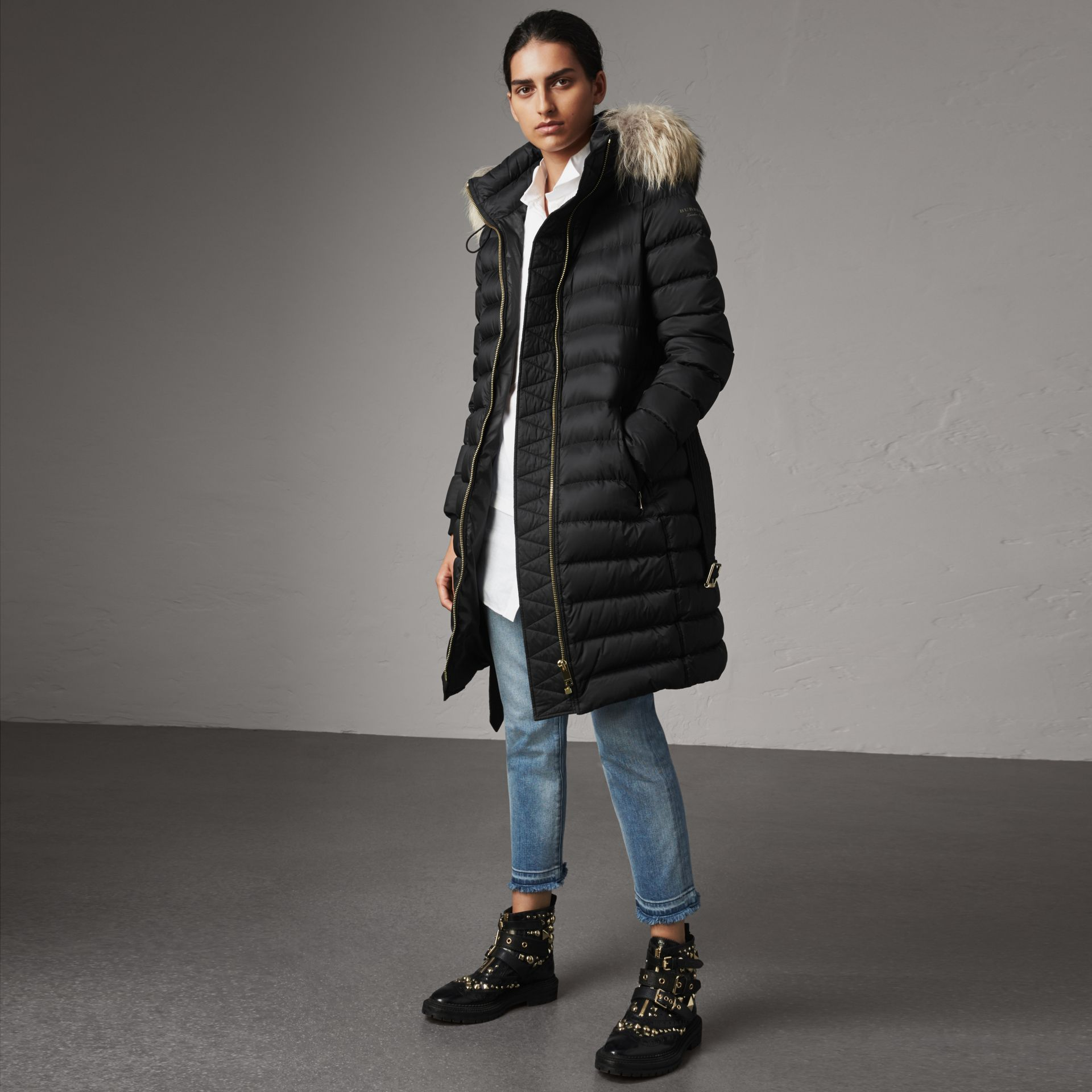 Detachable Fur Trim Down-filled Puffer Coat with Hood in Black - Women | Burberry - gallery image 0