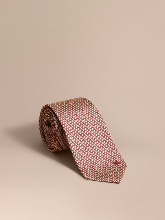 Modern Cut Silk Jacquard Tie in Parade Red