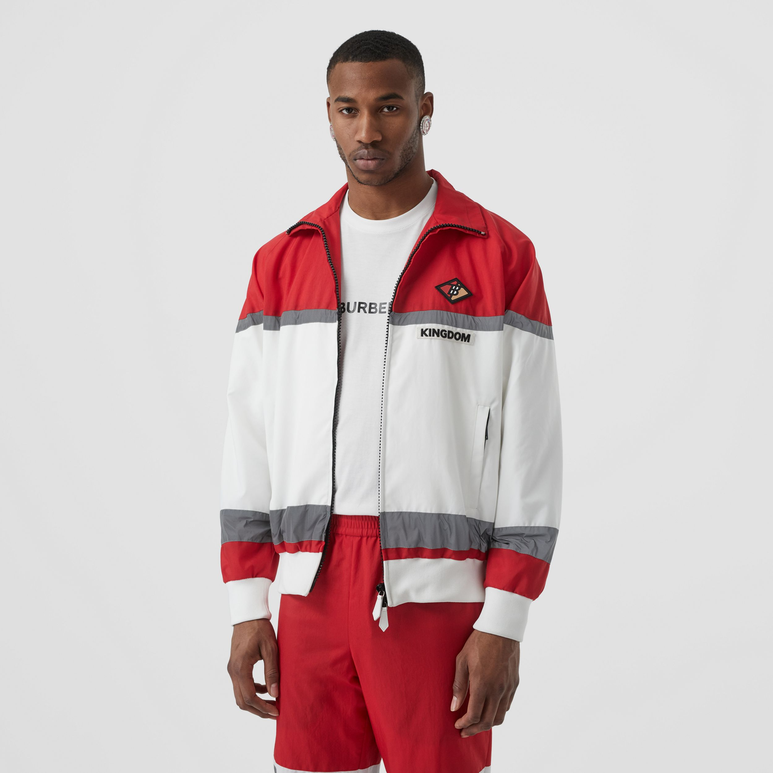 Logo Graphic Striped Nylon Track Top in Bright Red - Men | Burberry - 1