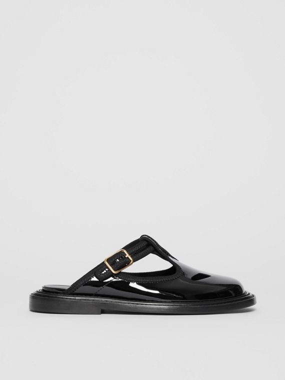 Patent Leather T-bar Mules in Black