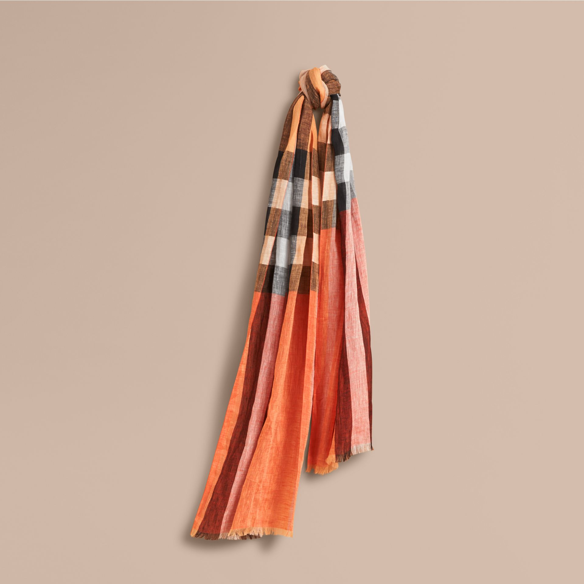 Lightweight Check Linen Scarf Clementine - gallery image 1