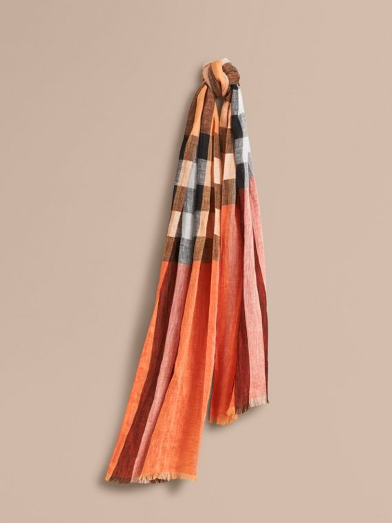 Lightweight Check Linen Scarf in Clementine