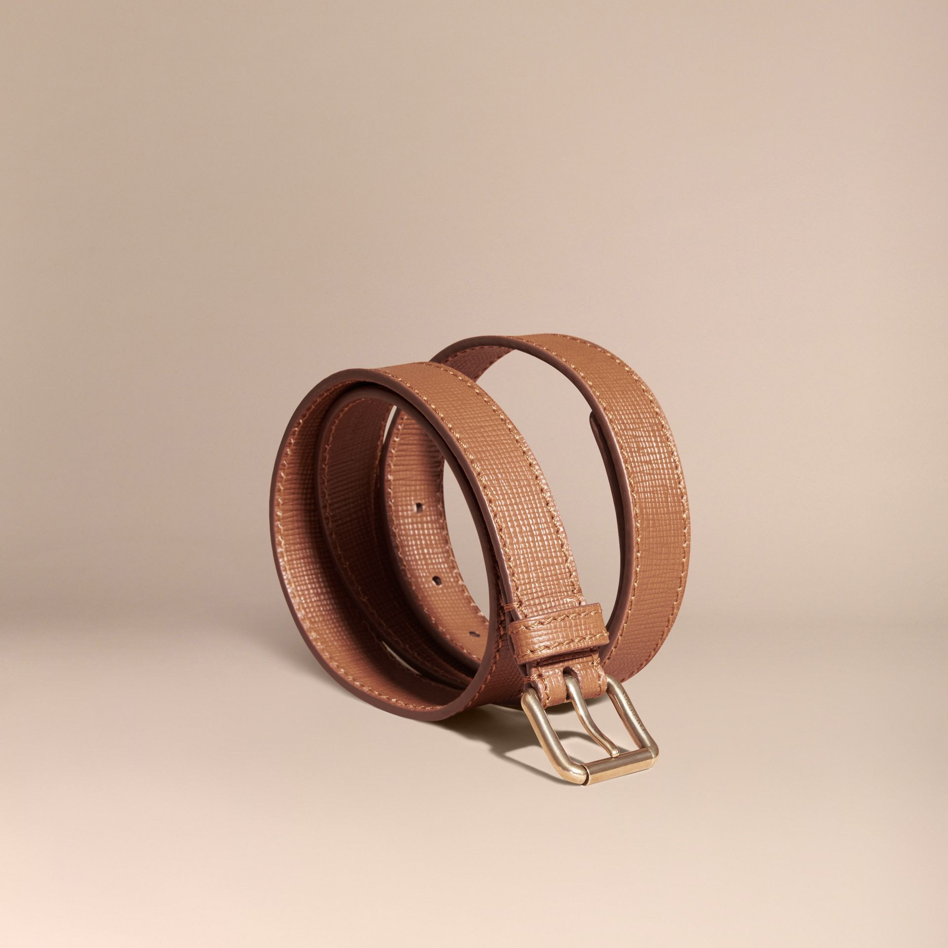 Dark tan Textured Leather Belt with Topstitch Detail Dark Tan - gallery image 1