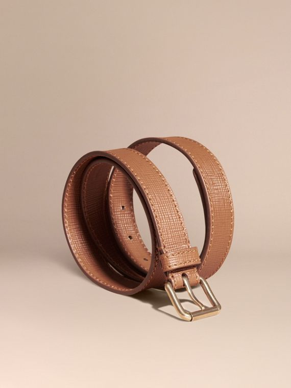 Textured Leather Belt with Topstitch Detail Dark Tan