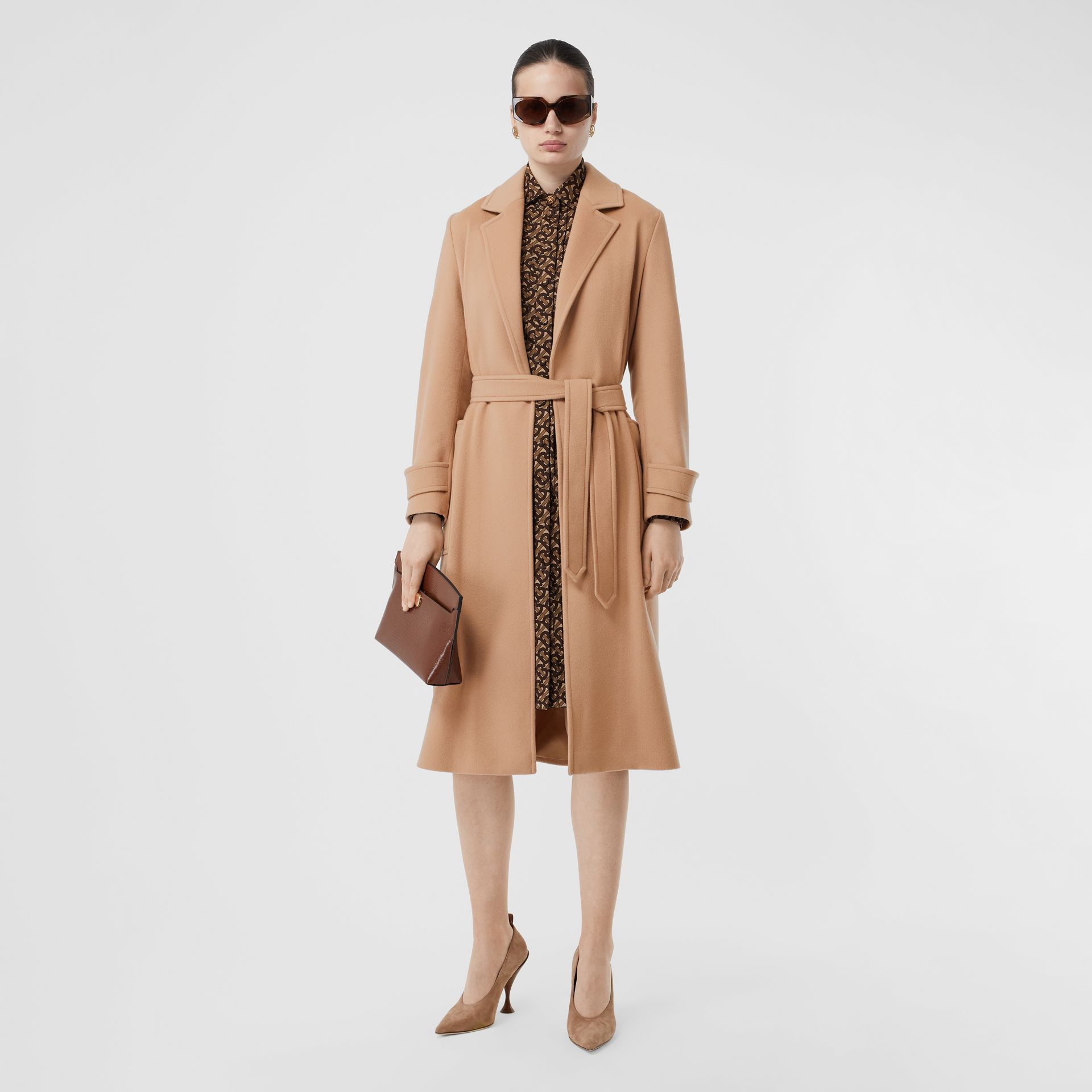 Cashmere Wrap Coat in Modern Beige - Women | Burberry - gallery image 0