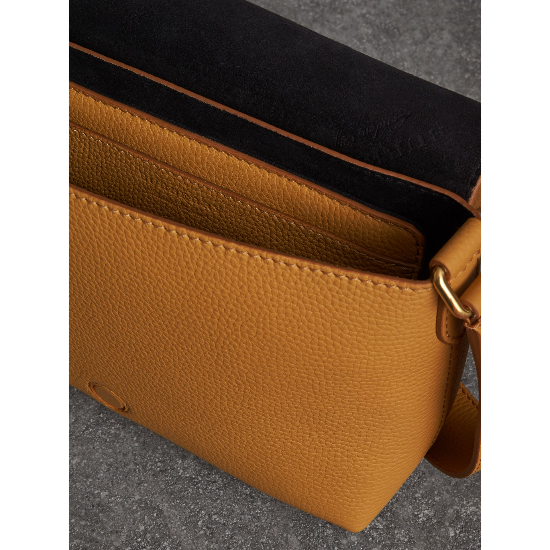 Small Embossed Leather Messenger Bag in Ochre Yellow - Women | Burberry Australia - gallery image 3