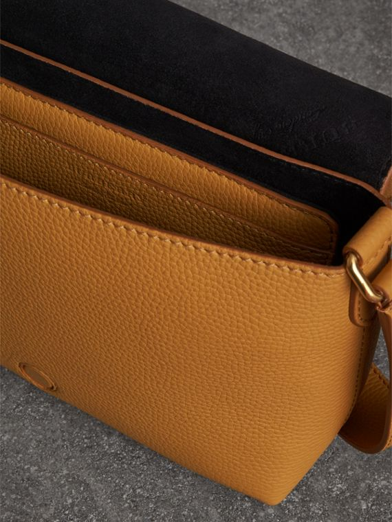 Small Embossed Leather Messenger Bag in Ochre Yellow - Women | Burberry Australia - cell image 3