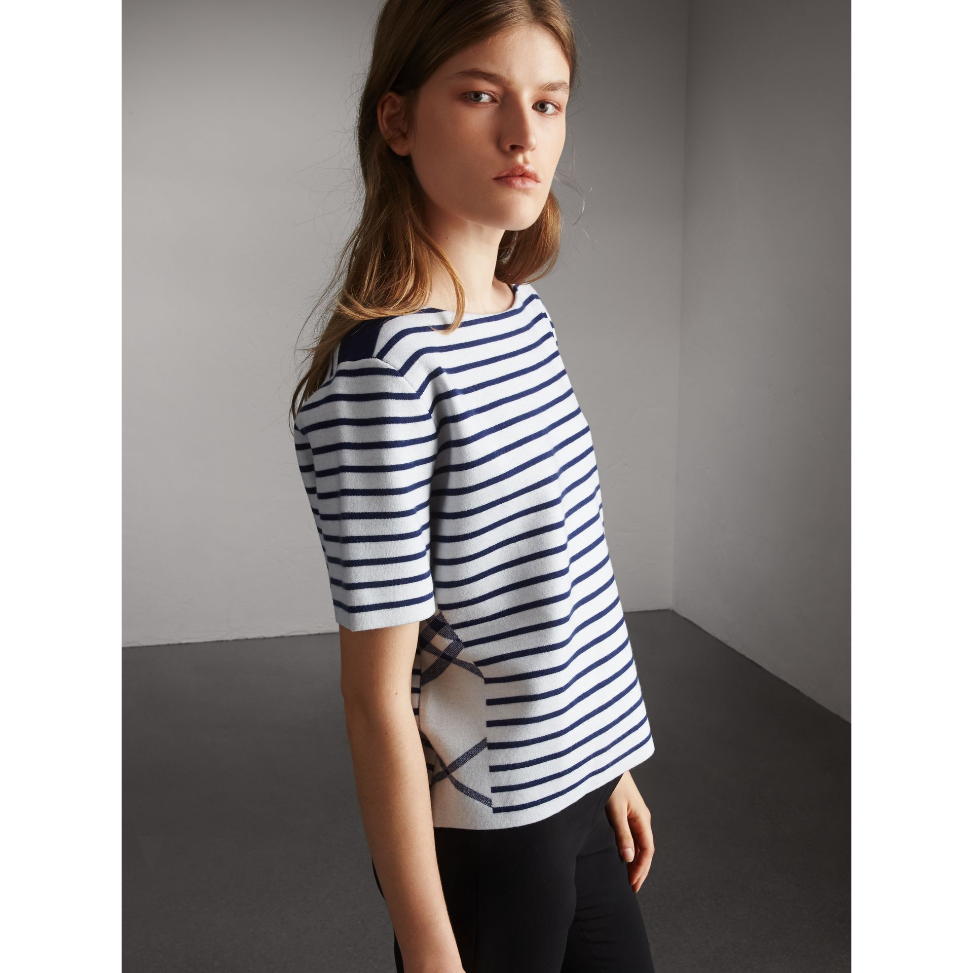 Check and Stripe Knitted Wool Blend T-shirt in Bright Navy - Women | Burberry United Kingdom - gallery image 5