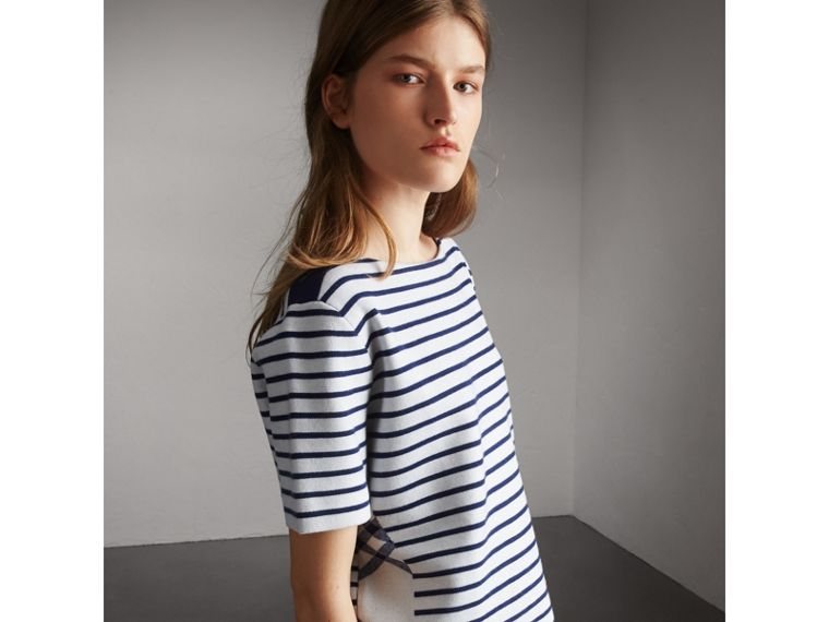 Check and Stripe Knitted Wool Blend T-shirt in Bright Navy - Women | Burberry United Kingdom - cell image 4