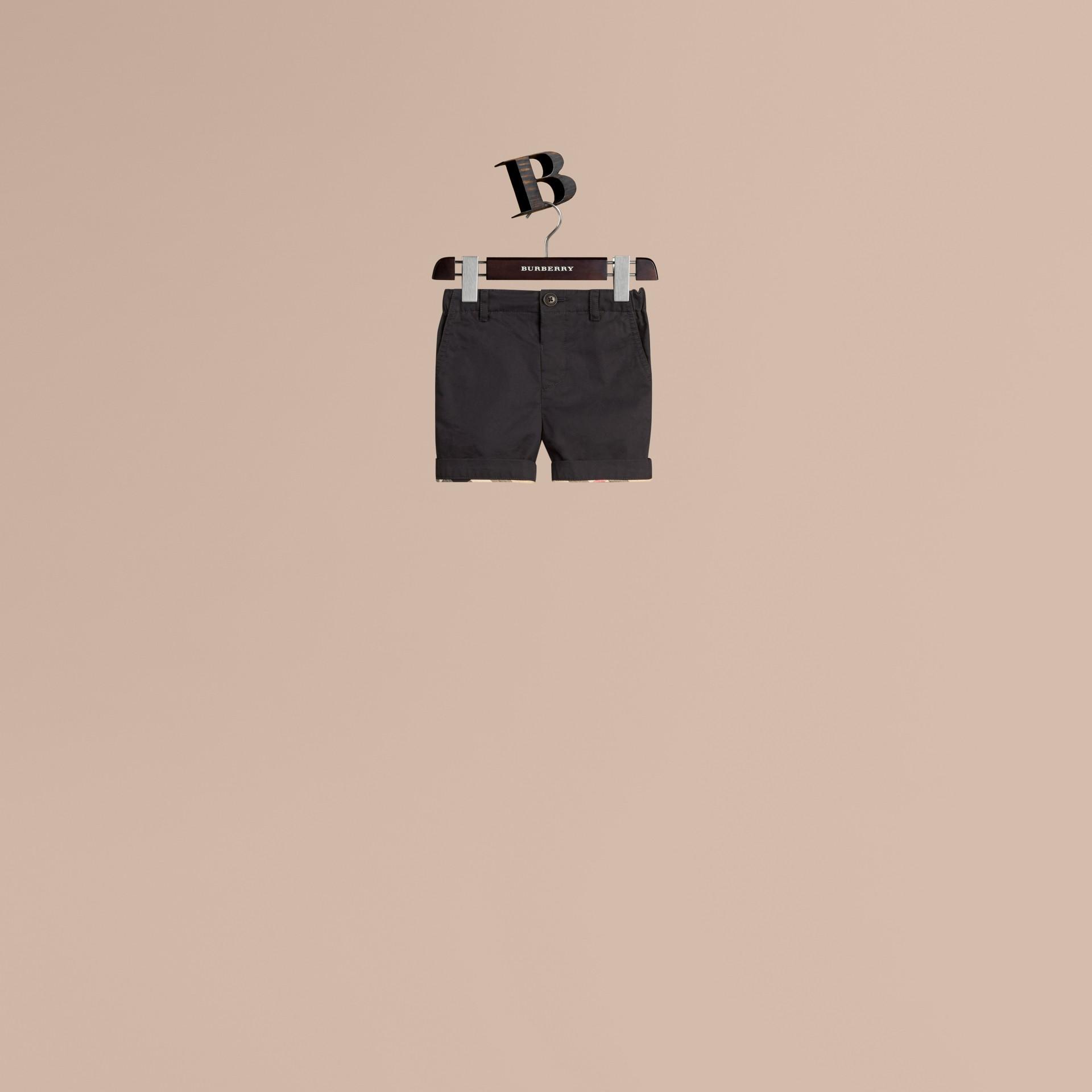 Inchiostro Pantaloncini chino in cotone con dettagli check Inchiostro - immagine della galleria 1