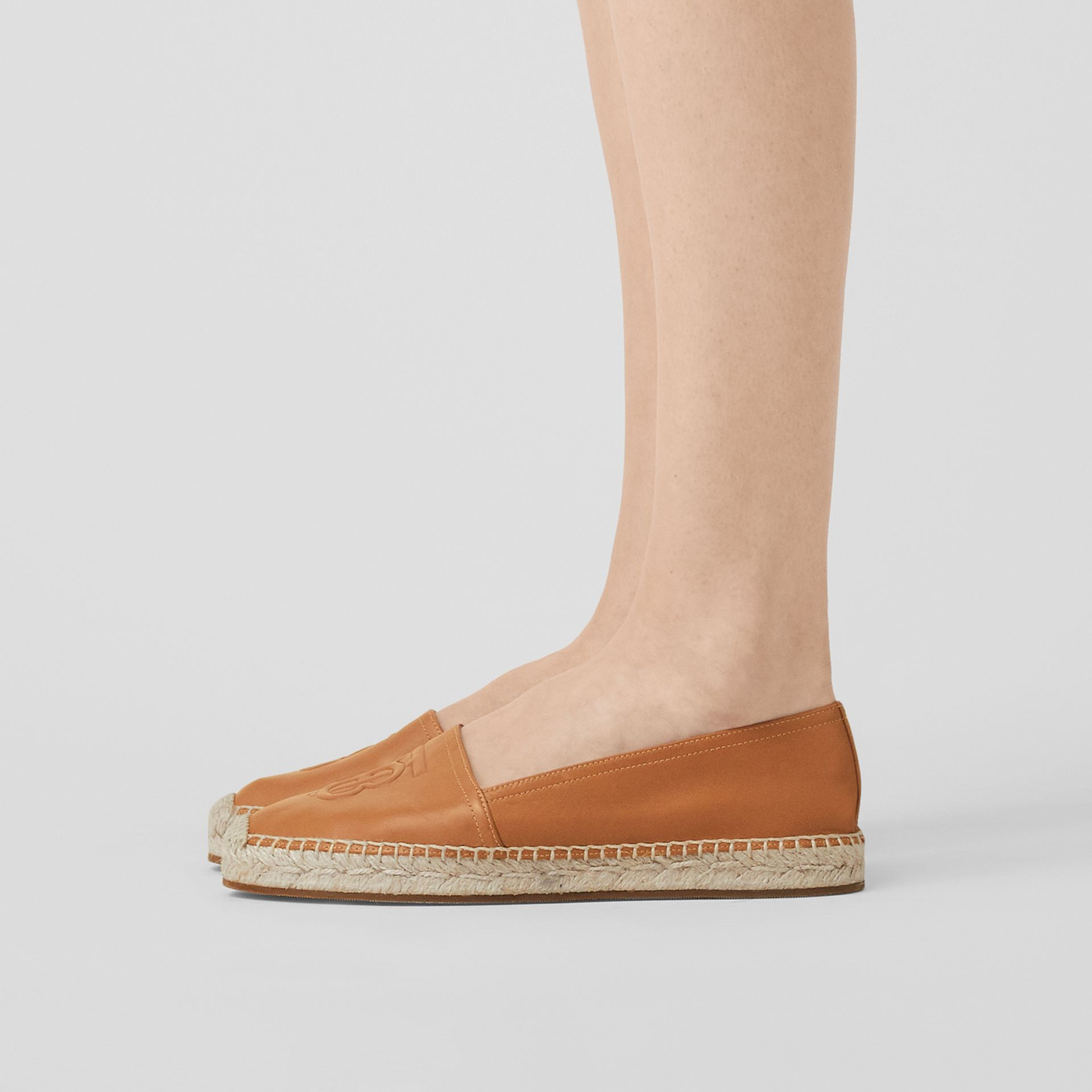 Monogram Motif Lambskin Espadrilles in Camel - Women | Burberry United Kingdom - gallery image 2