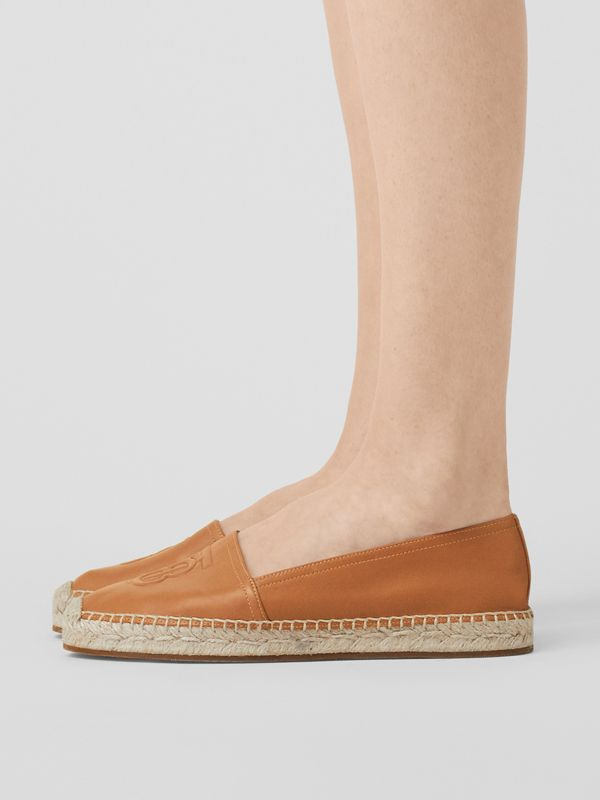 Monogram Motif Lambskin Espadrilles in Camel - Women | Burberry United Kingdom - cell image 2