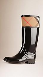 House Check Rain Boots