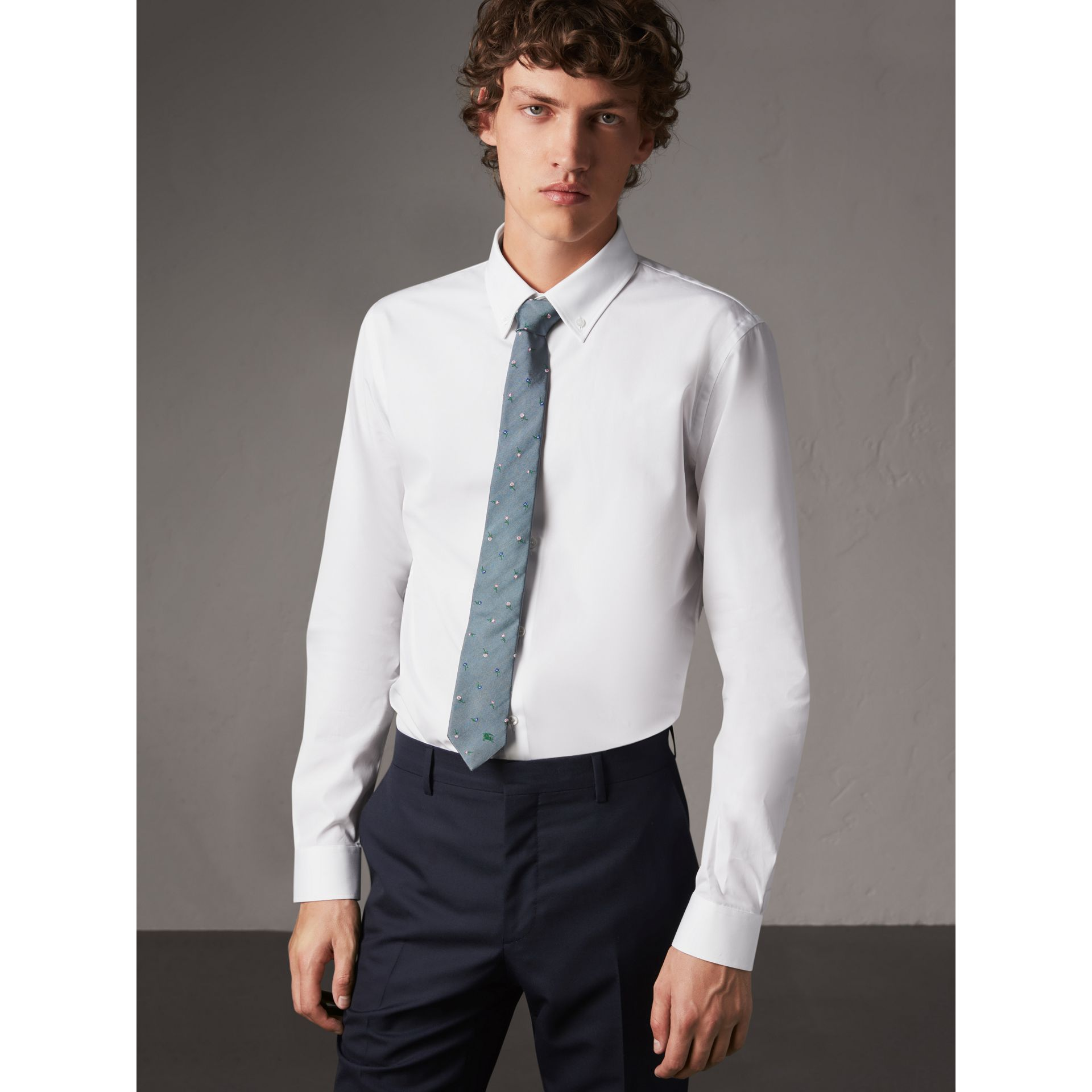 Slim Fit Button-down Collar Cotton Poplin Shirt in White - Men | Burberry - gallery image 0