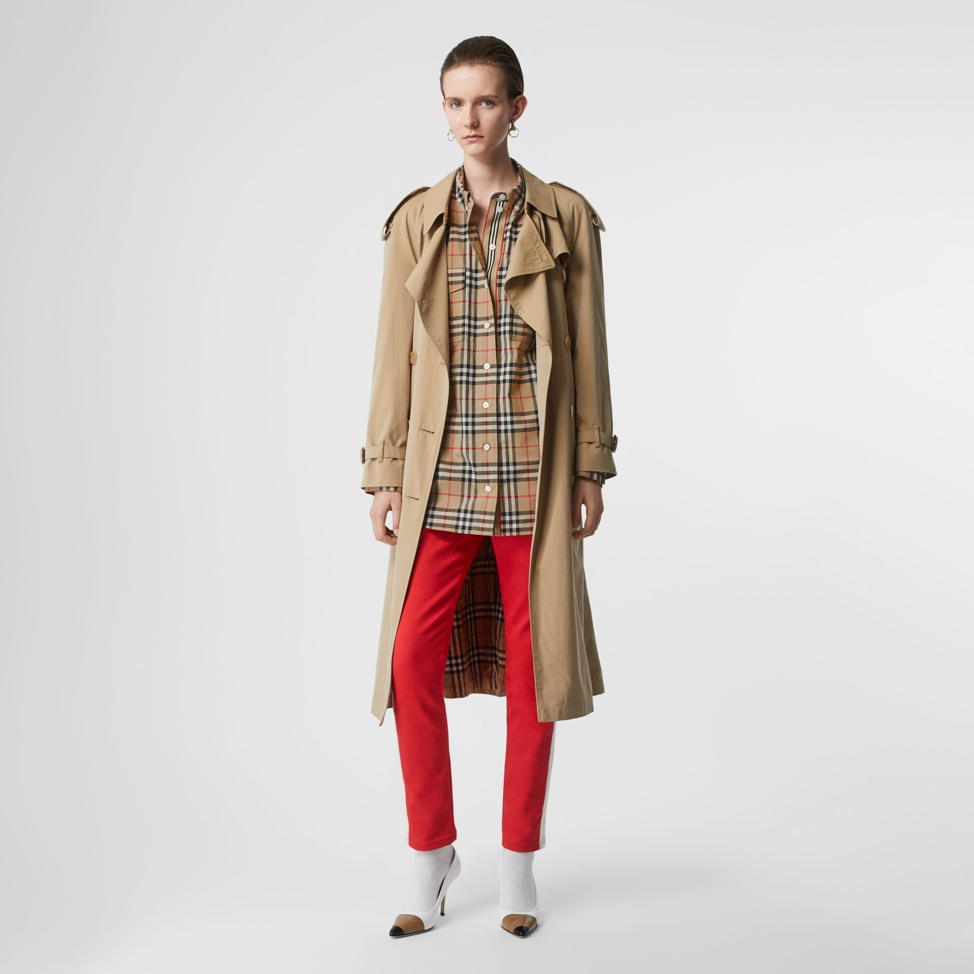 Button-down Collar Vintage Check Oversized Shirt in Archive Beige - Women | Burberry - gallery image 5
