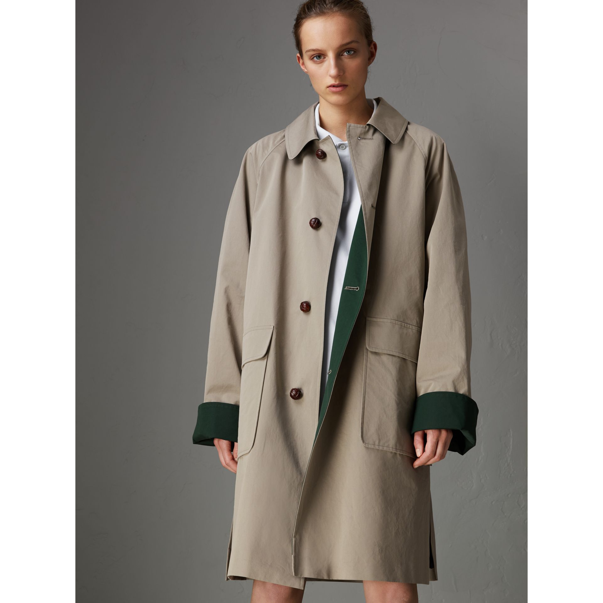 Reissued Waxed Cotton Gabardine Car Coat in Khaki - Women | Burberry - gallery image 6