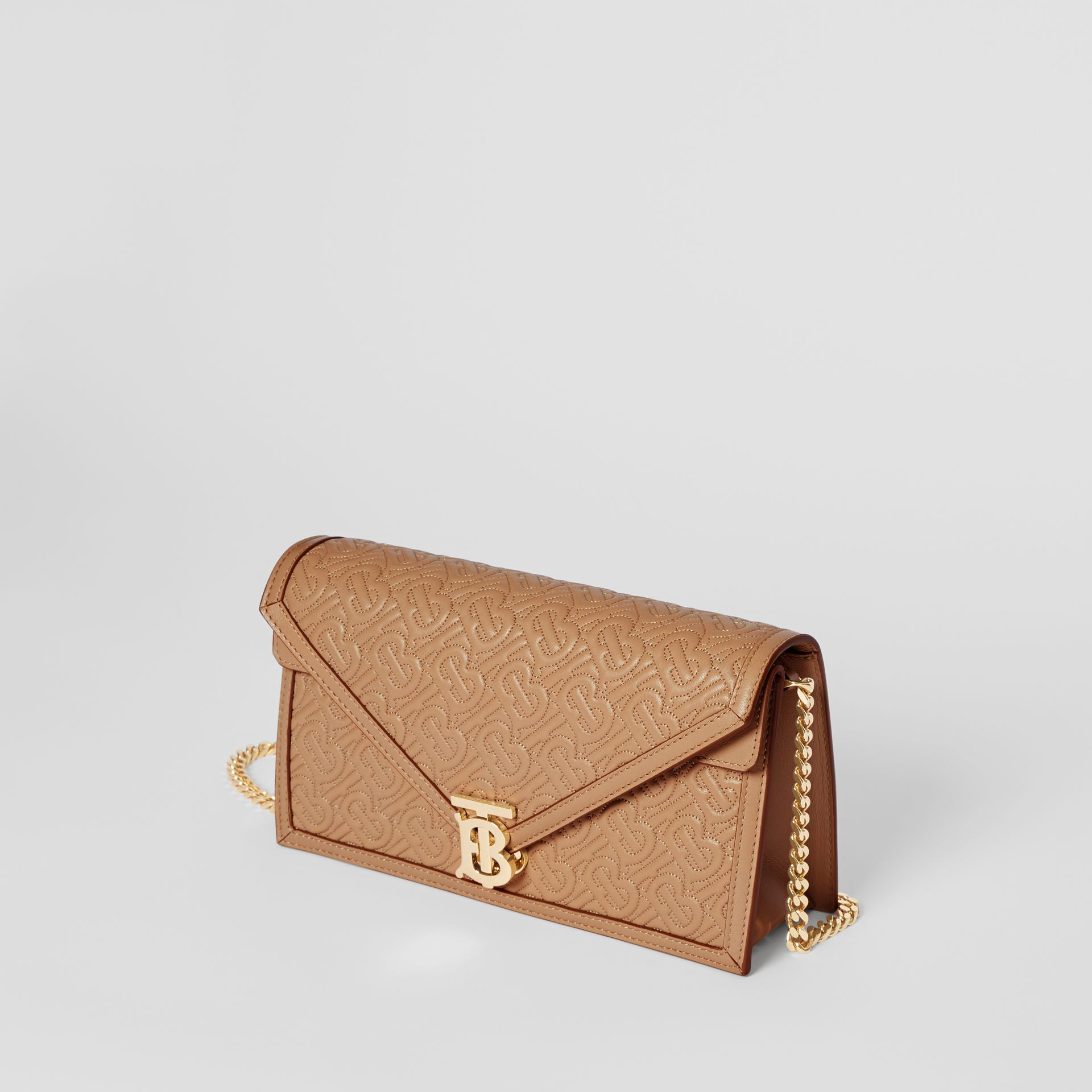 Small Quilted Monogram TB Envelope Clutch in Honey - Women | Burberry - gallery image 3