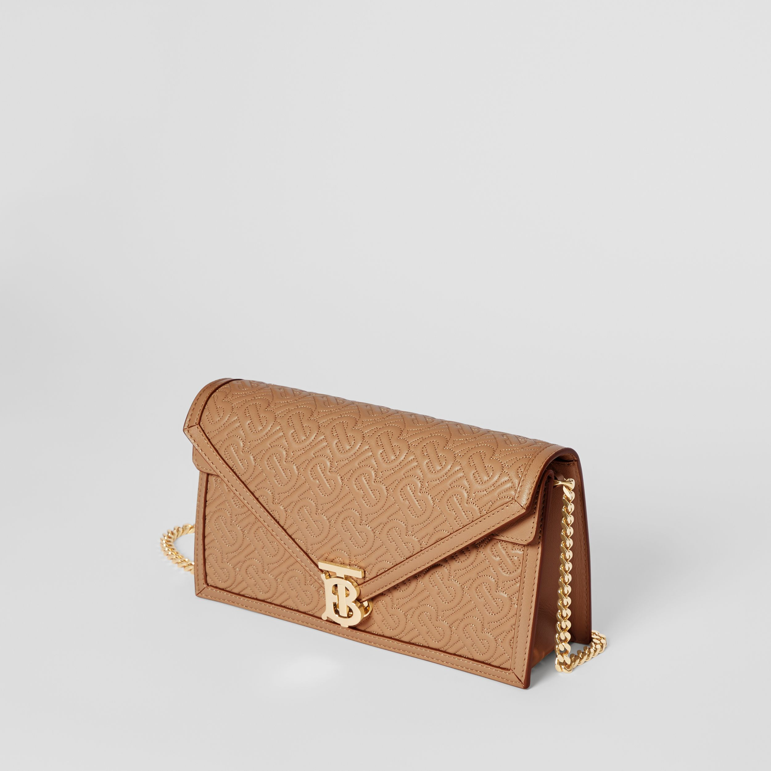 Small Quilted Monogram TB Envelope Clutch in Honey - Women | Burberry - 4