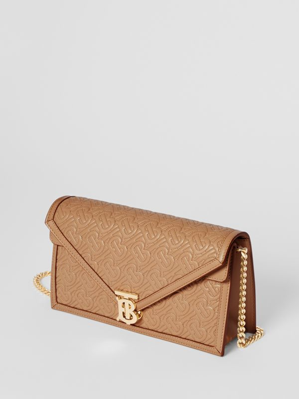 Small Quilted Monogram TB Envelope Clutch in Honey - Women | Burberry - cell image 3