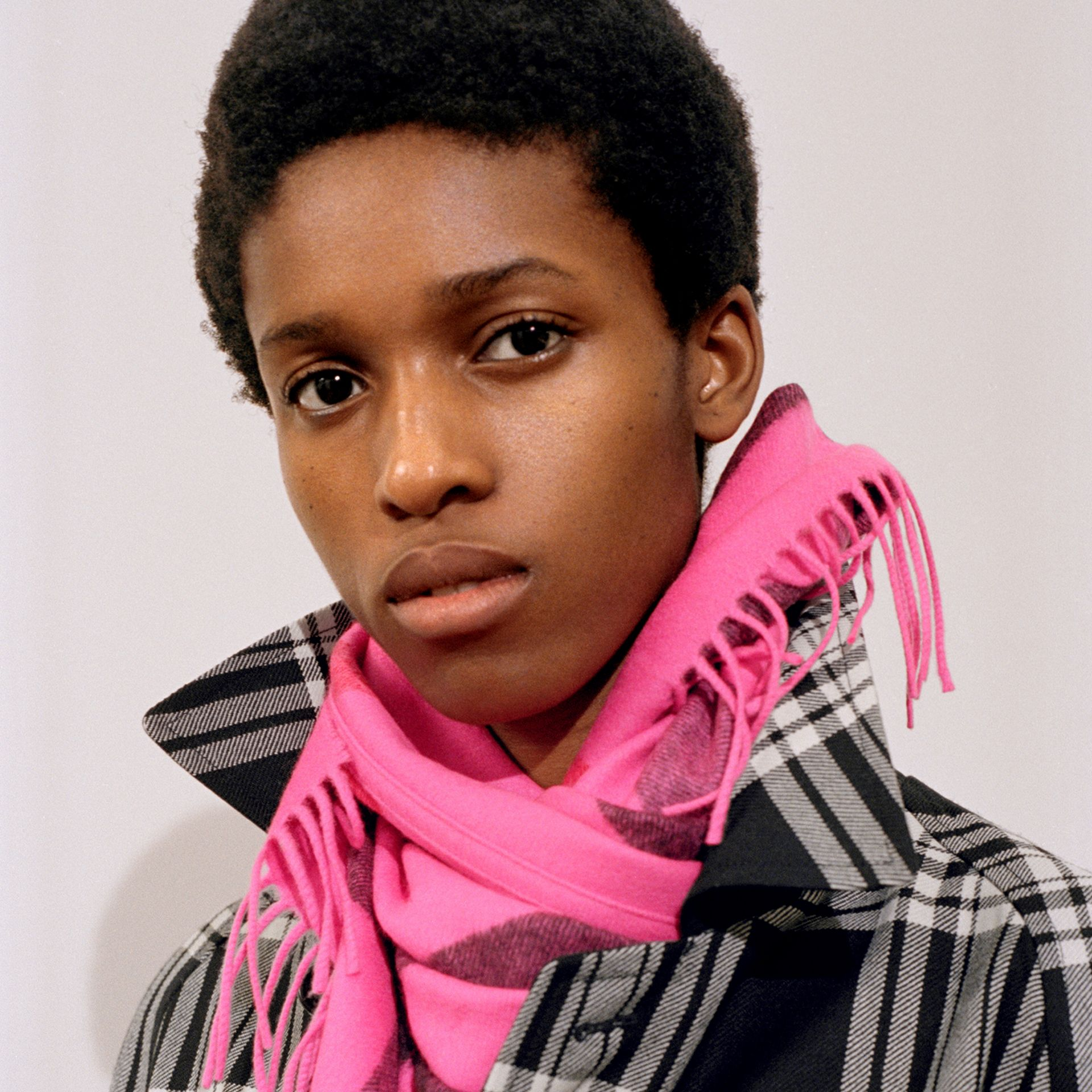 The Burberry Bandana in Check Cashmere in Bright Rose Pink | Burberry - gallery image 5