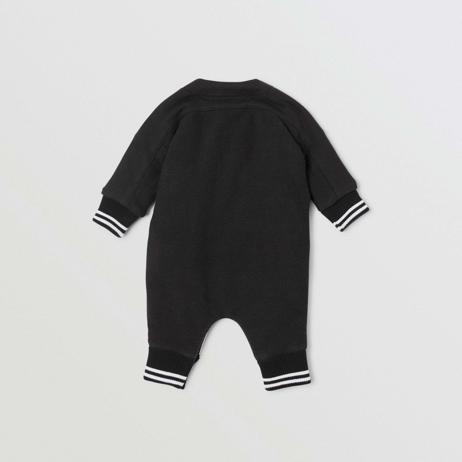 Logo Print Quilted Cotton Jumpsuit in Black - Children | Burberry - gallery image 3