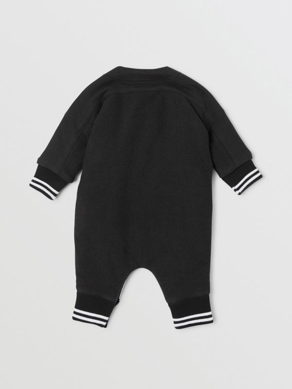 Logo Print Quilted Cotton Jumpsuit in Black - Children | Burberry United Kingdom - cell image 3