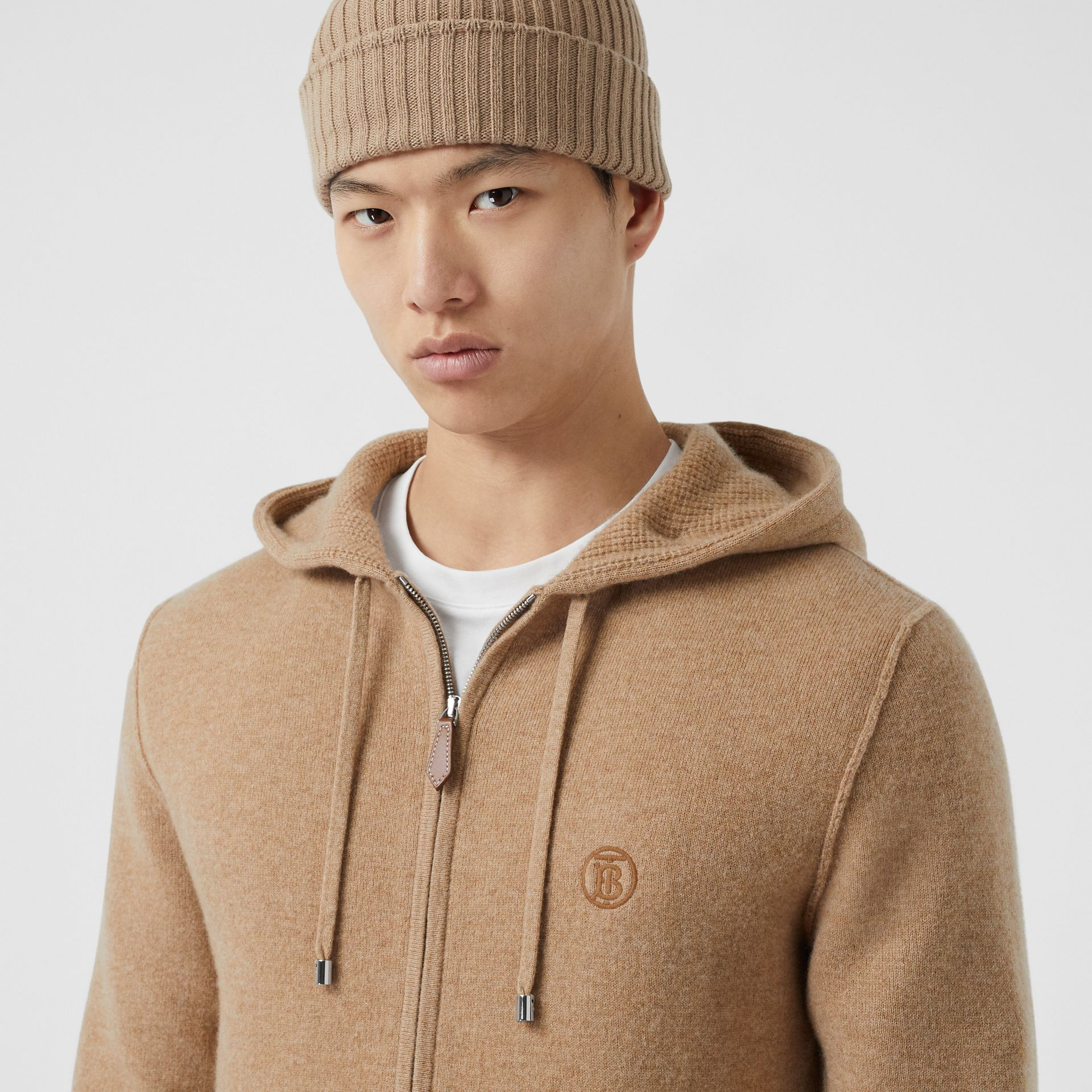 Monogram Motif Cashmere Blend Hooded Top in Pale Coffee - Men | Burberry - gallery image 4