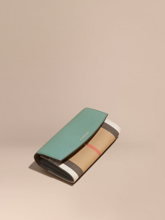 House Check and Leather Continental Wallet Smokey Green