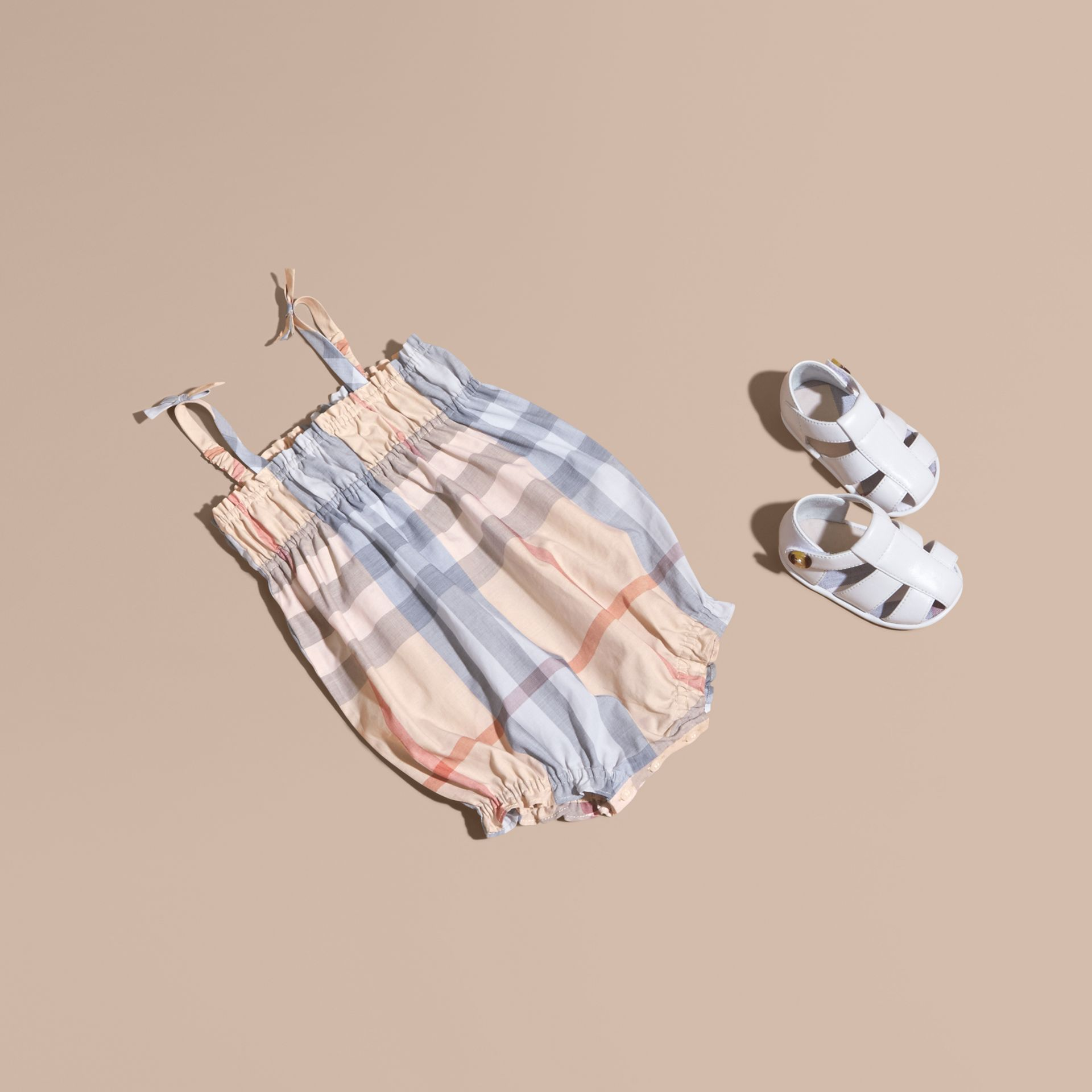 Ruched Check Cotton Bodysuit in Pale Classic | Burberry - gallery image 1