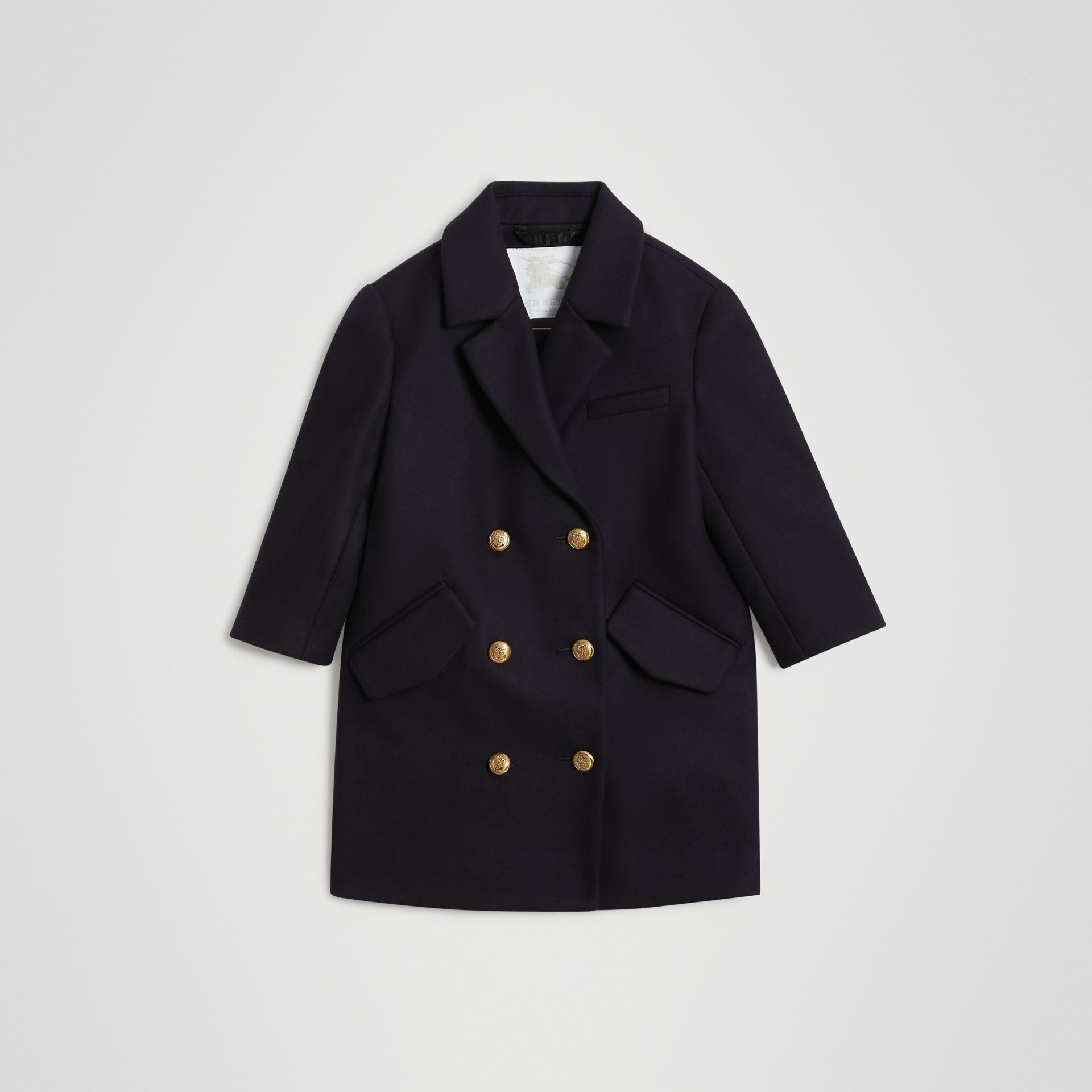 Crested Button Wool Pea Coat in Navy | Burberry - gallery image 0