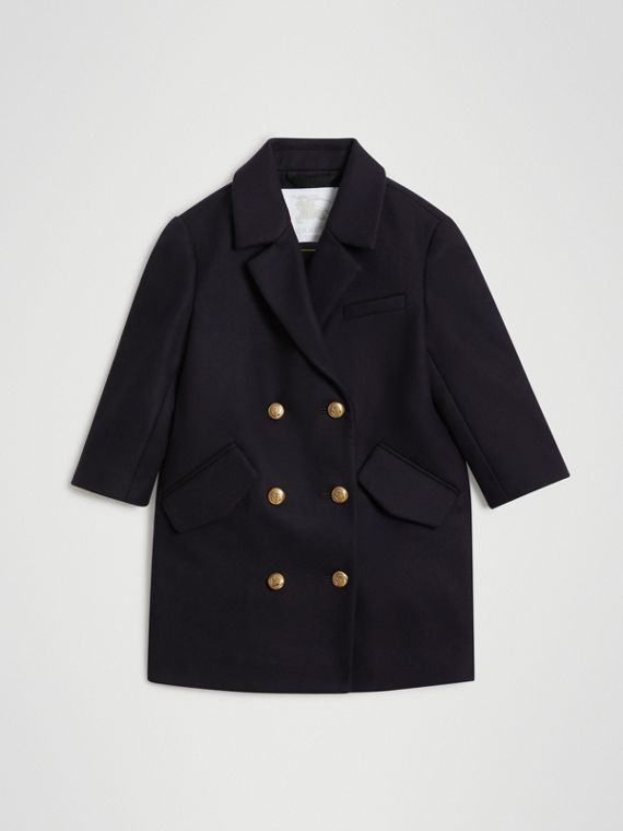 Crested Button Wool Pea Coat in Navy
