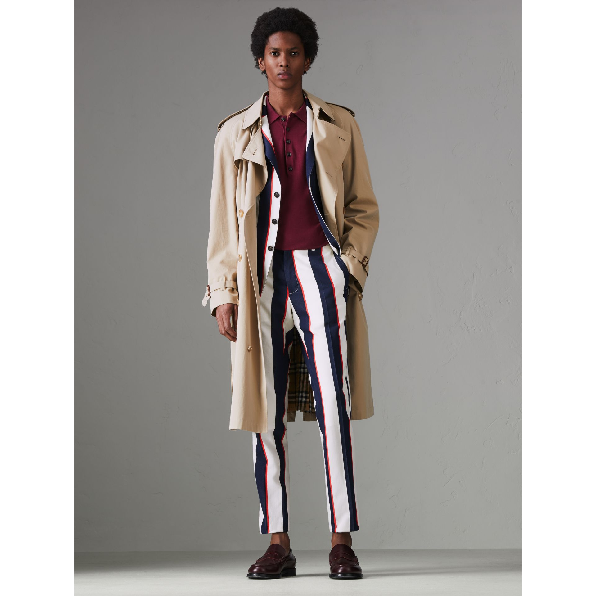 Striped Cotton Wool Blend Tailored Trousers in Natural White - Men | Burberry Singapore - gallery image 5