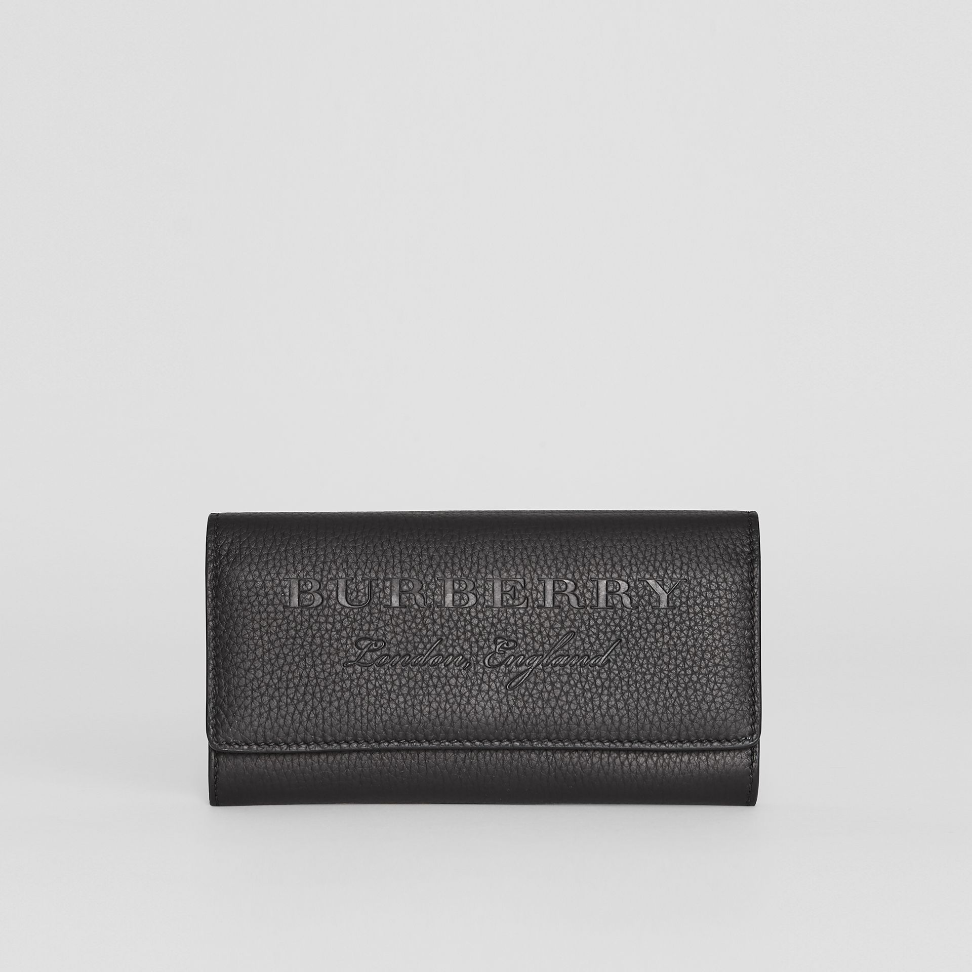 Embossed Leather Continental Wallet in Black - Women | Burberry - gallery image 0