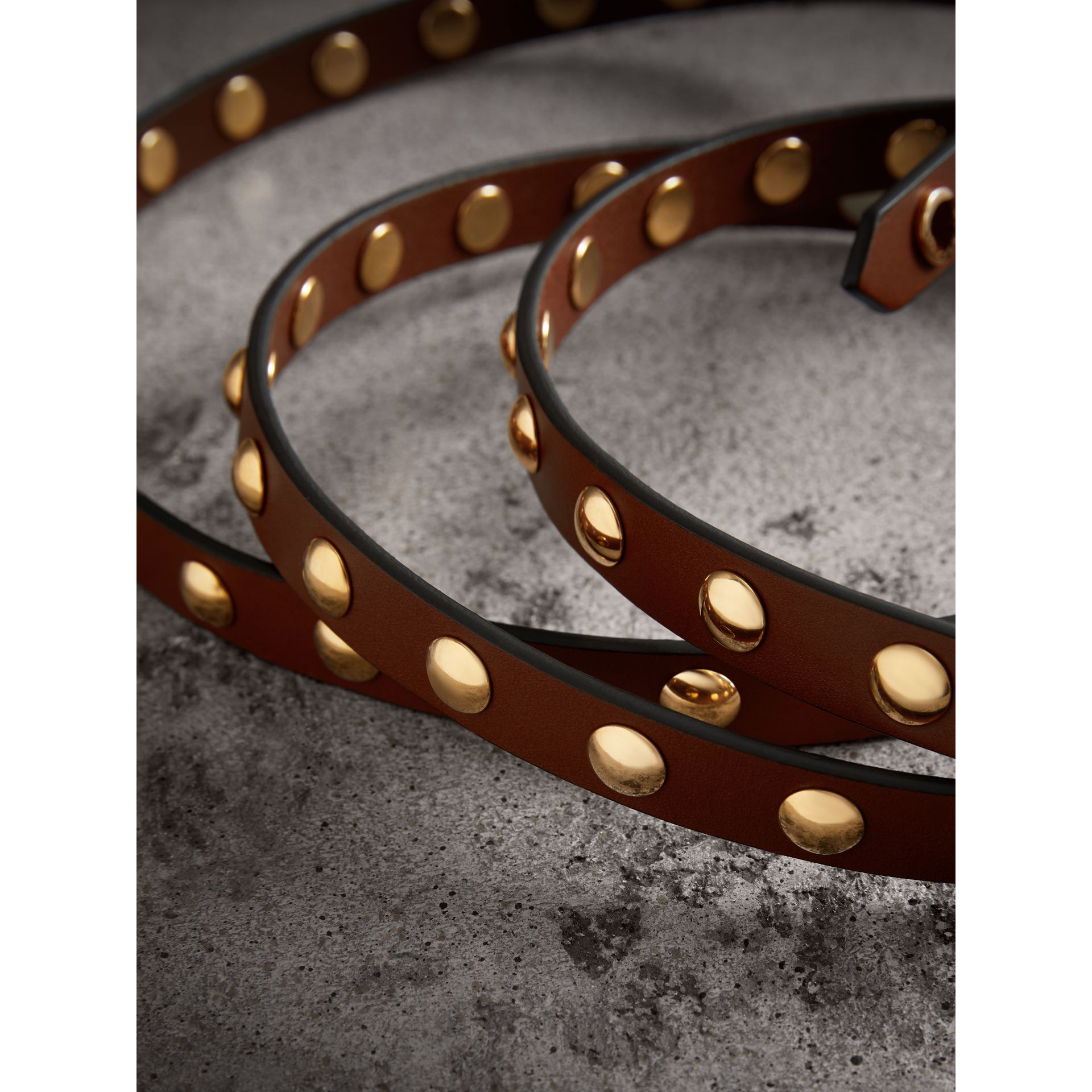 Studded Bridle Leather Double-wrap Belt in Tan - Women | Burberry - gallery image 1