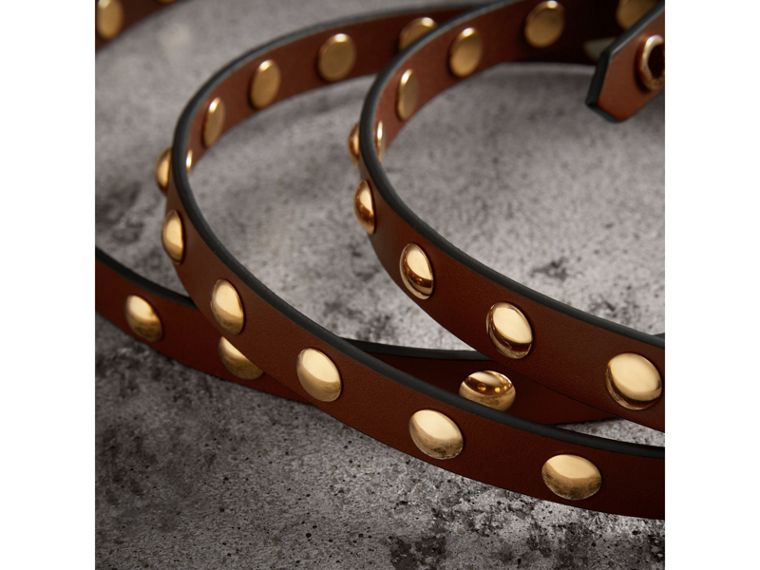 Studded Bridle Leather Double-wrap Belt in Tan - Women | Burberry - cell image 1