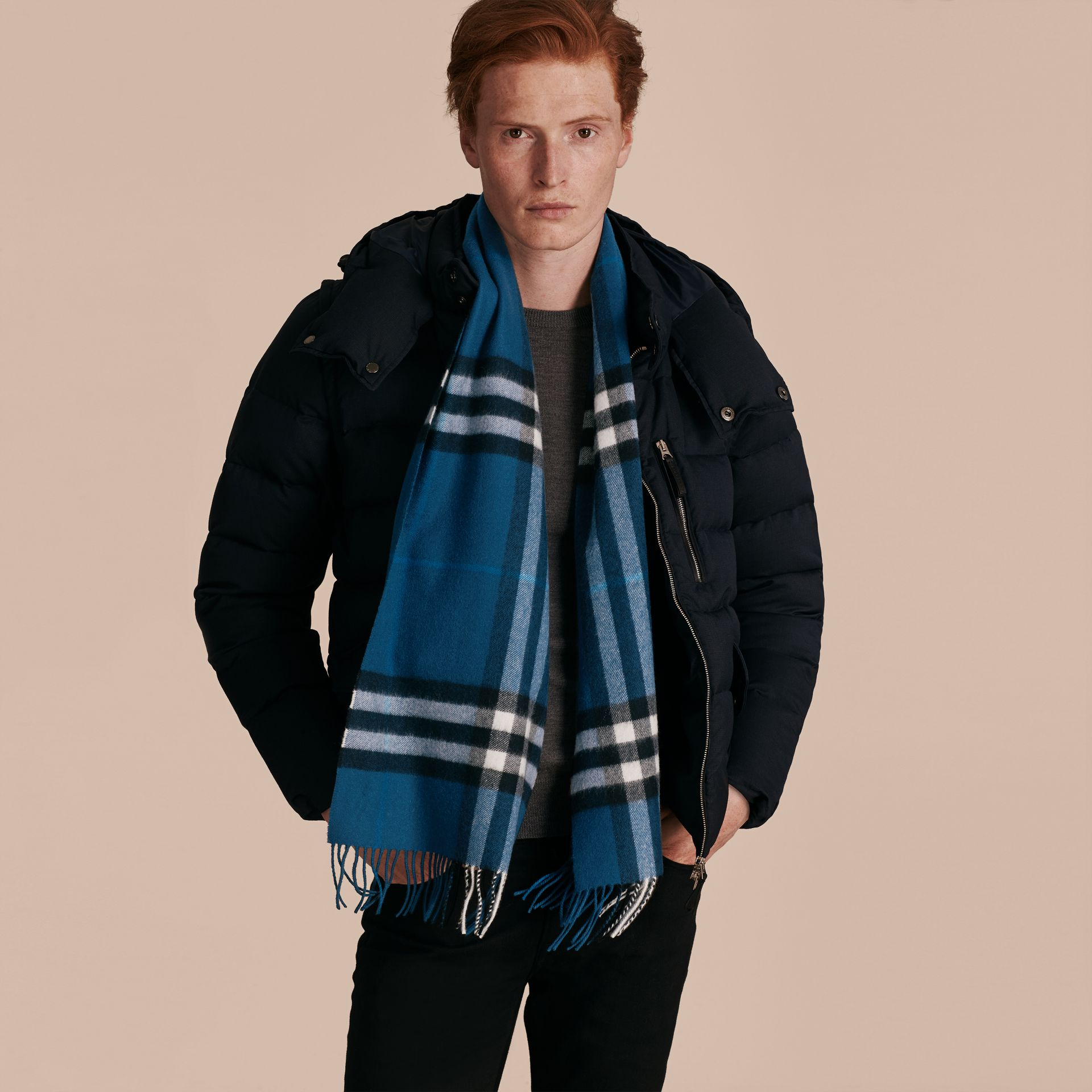 Marine blue The Classic Cashmere Scarf in Check Marine Blue - gallery image 4