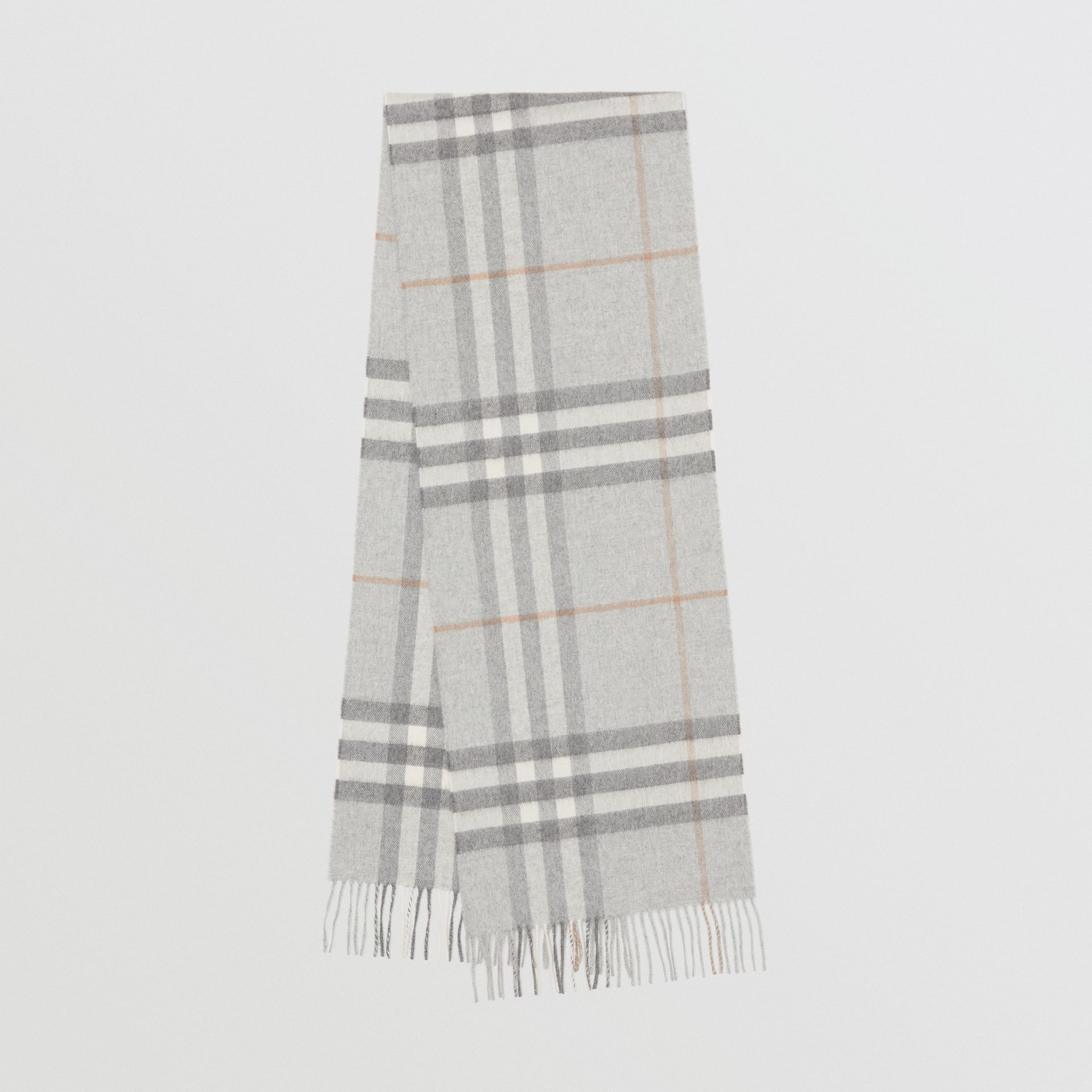 The Classic Check Cashmere Scarf in Light Grey | Burberry - gallery image 0