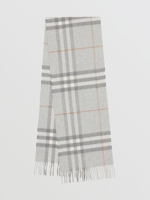 Sciarpa classica in cashmere con motivo tartan (Grigio Chiaro)