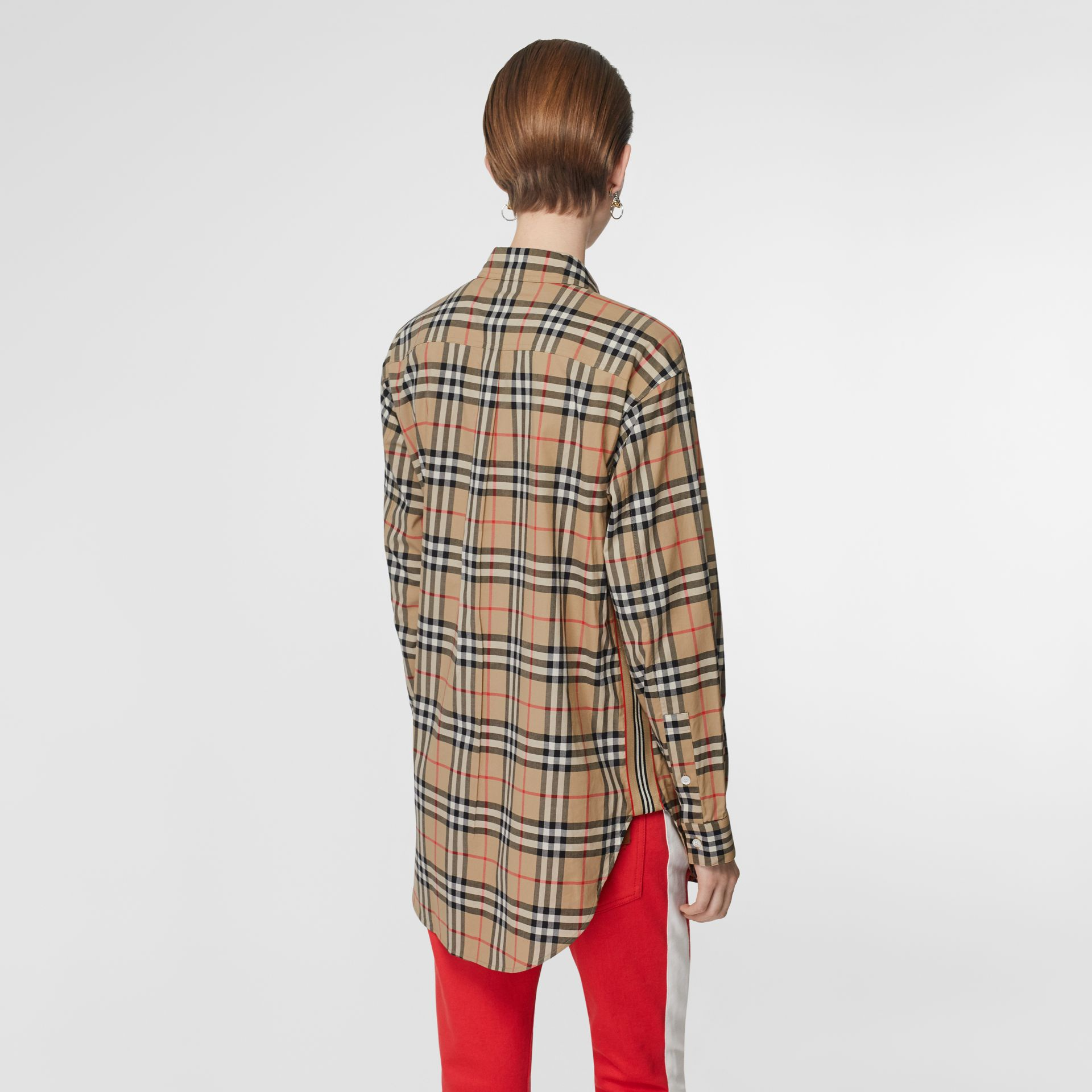 Button-down Collar Vintage Check Oversized Shirt in Archive Beige - Women | Burberry United Kingdom - gallery image 2